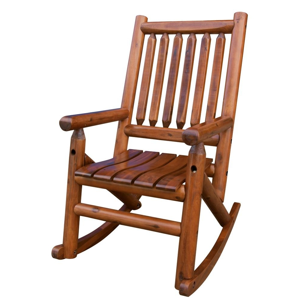 Trendy Wooden Patio Rocking Chairs With Regard To Leigh Country Amberlog Patio Rocking Chair Tx 36000 – The Home Depot (View 17 of 20)