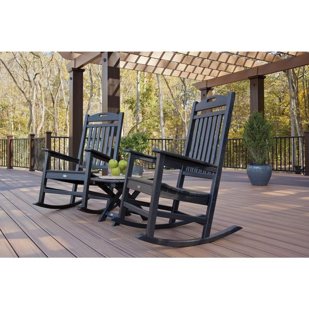 Trex Outdoor Furniture Yacht Club Charcoal Black 3 Piece Patio Within Current Outside Rocking Chair Sets (View 19 of 20)