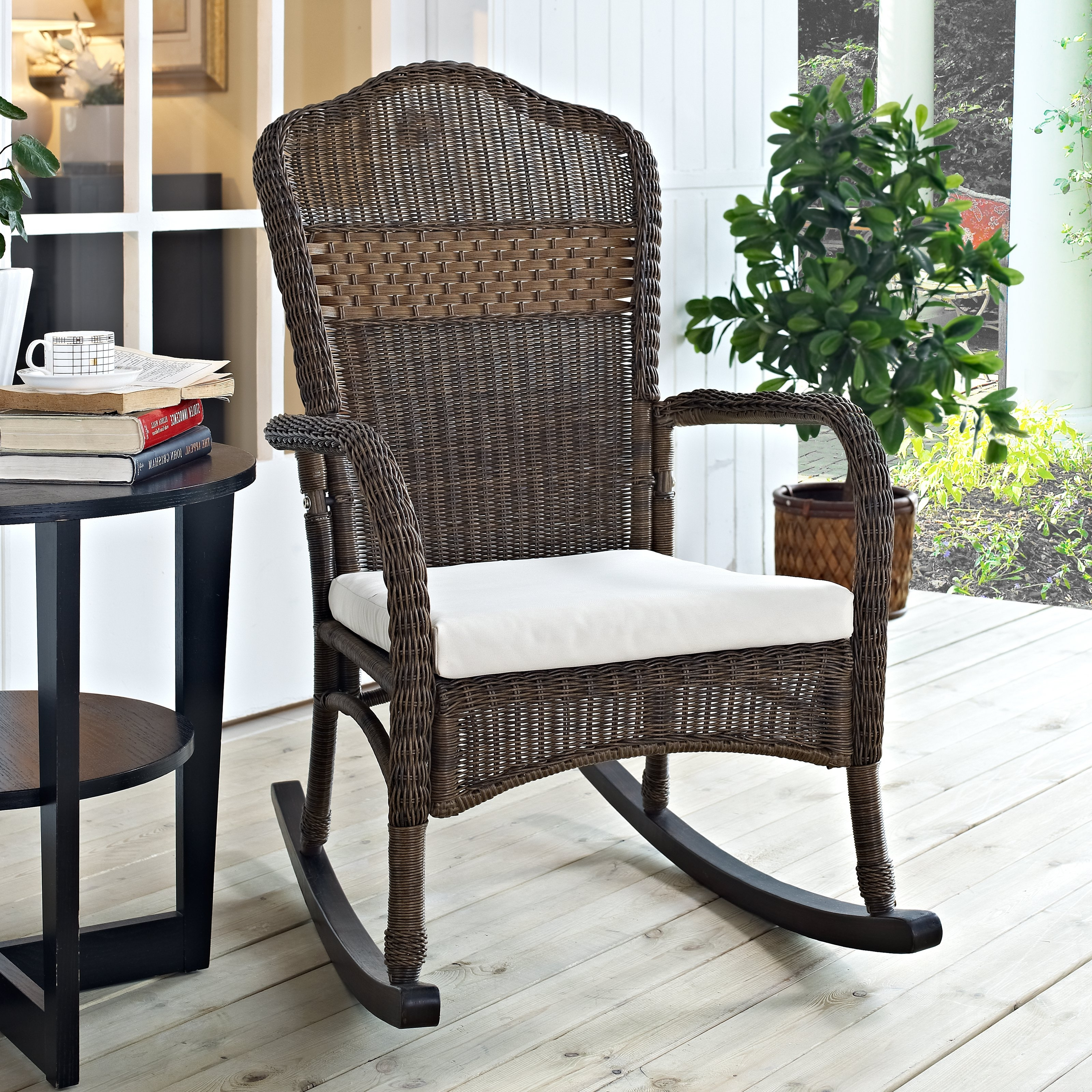 Unique Outdoor Rocking Chairs With Regard To Well Known Coral Coast Mocha Resin Wicker Rocking Chair With Beige Cushion (View 4 of 20)