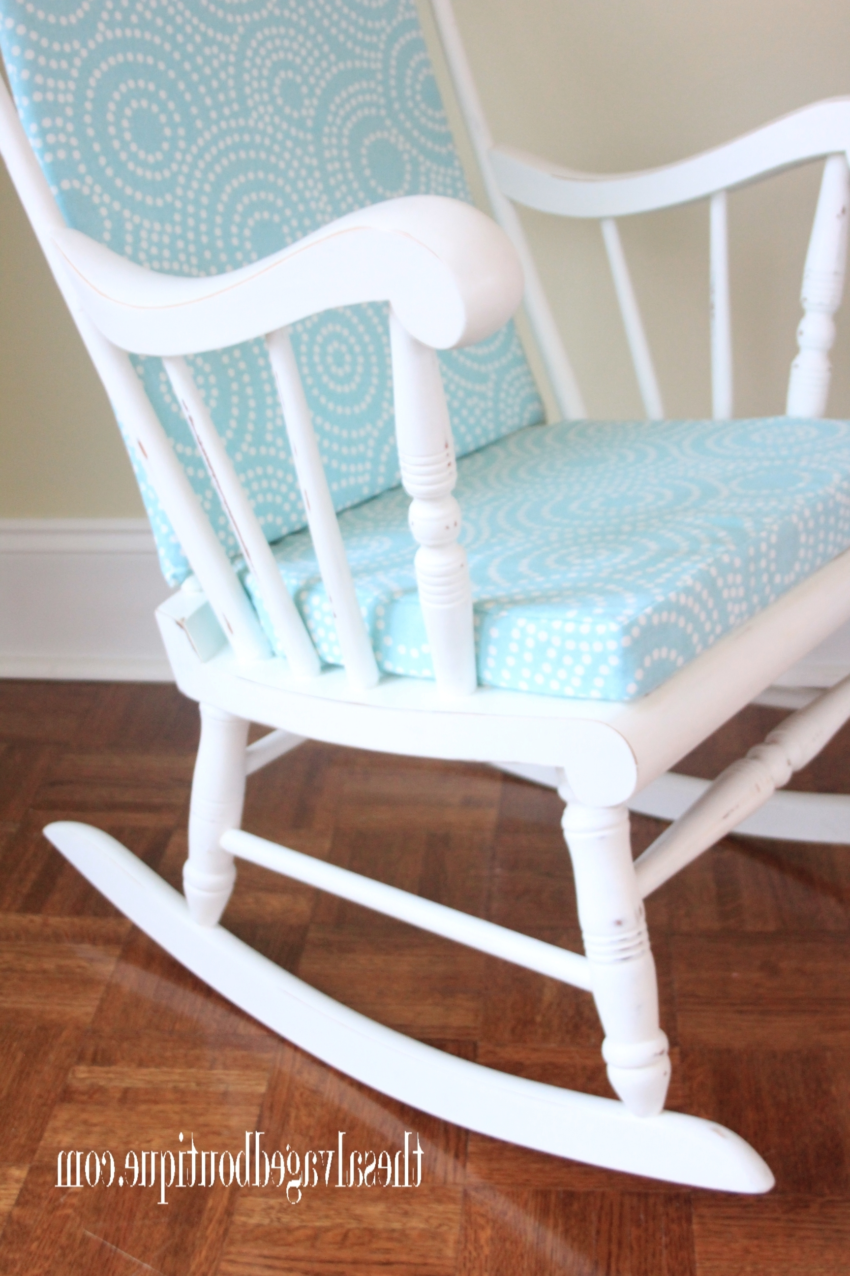 Upcycled Rocking Chairs Throughout Best And Newest Grandpa's Rocking Chair Brightened Up For New Baby Nursery (View 14 of 20)