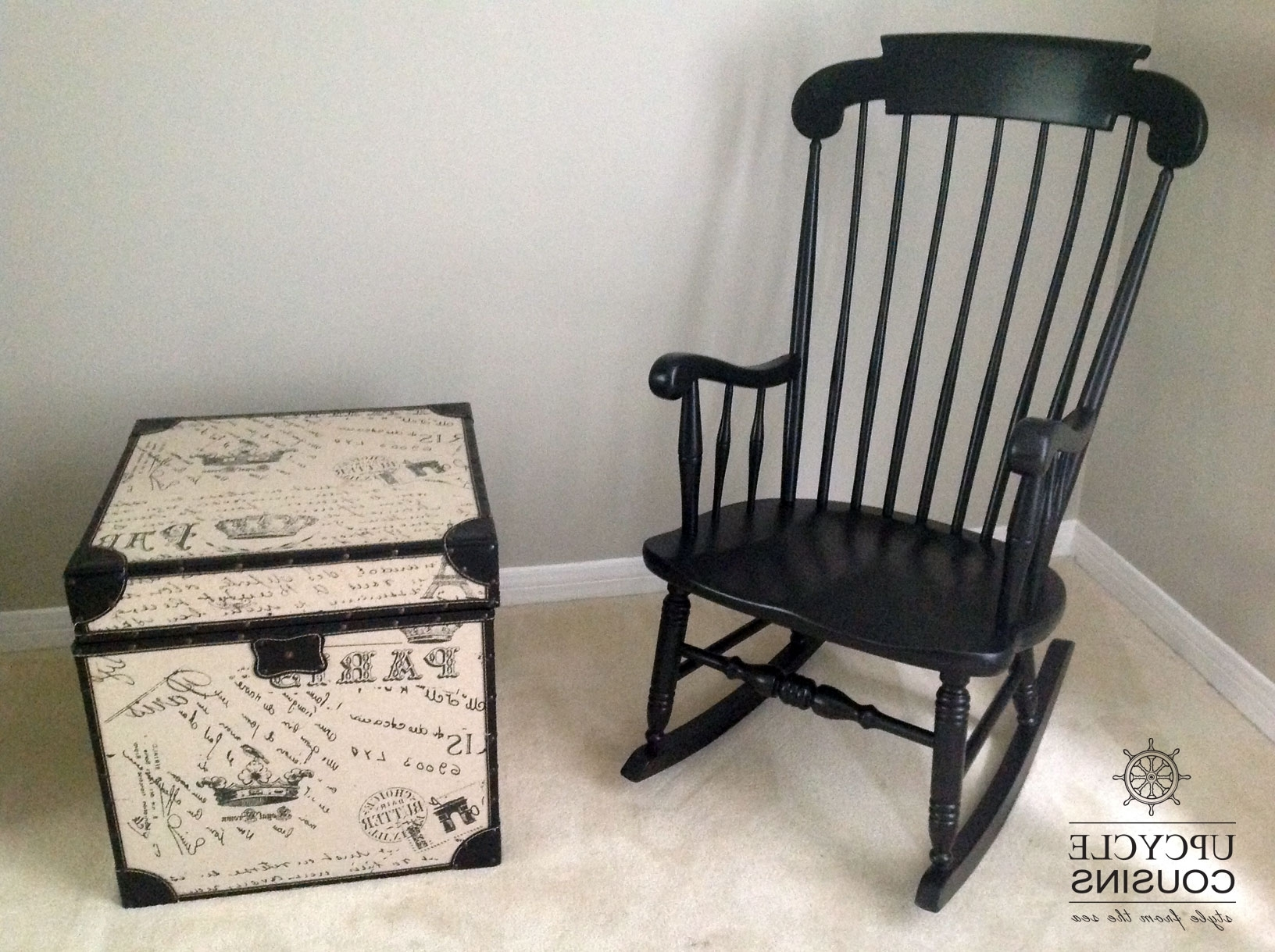Upcycled Rocking Chairs Within Best And Newest Cool Black Indoor/outdoor Rocking Chair (View 17 of 20)