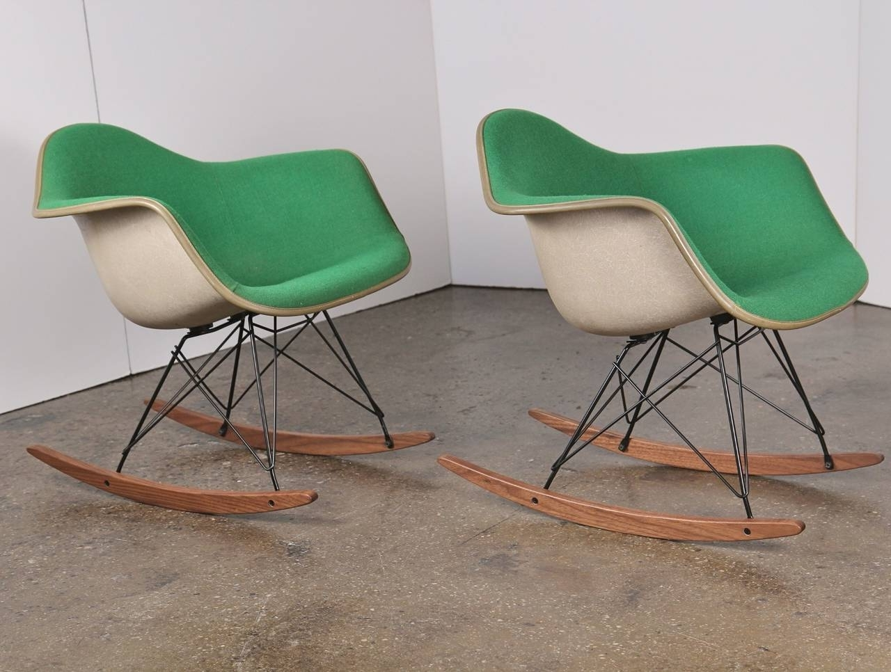 Upholstered Rocking Chairs Throughout Recent Vintage Green Eames Upholstered Rocking Chair – One Left At 1stdibs (View 13 of 20)