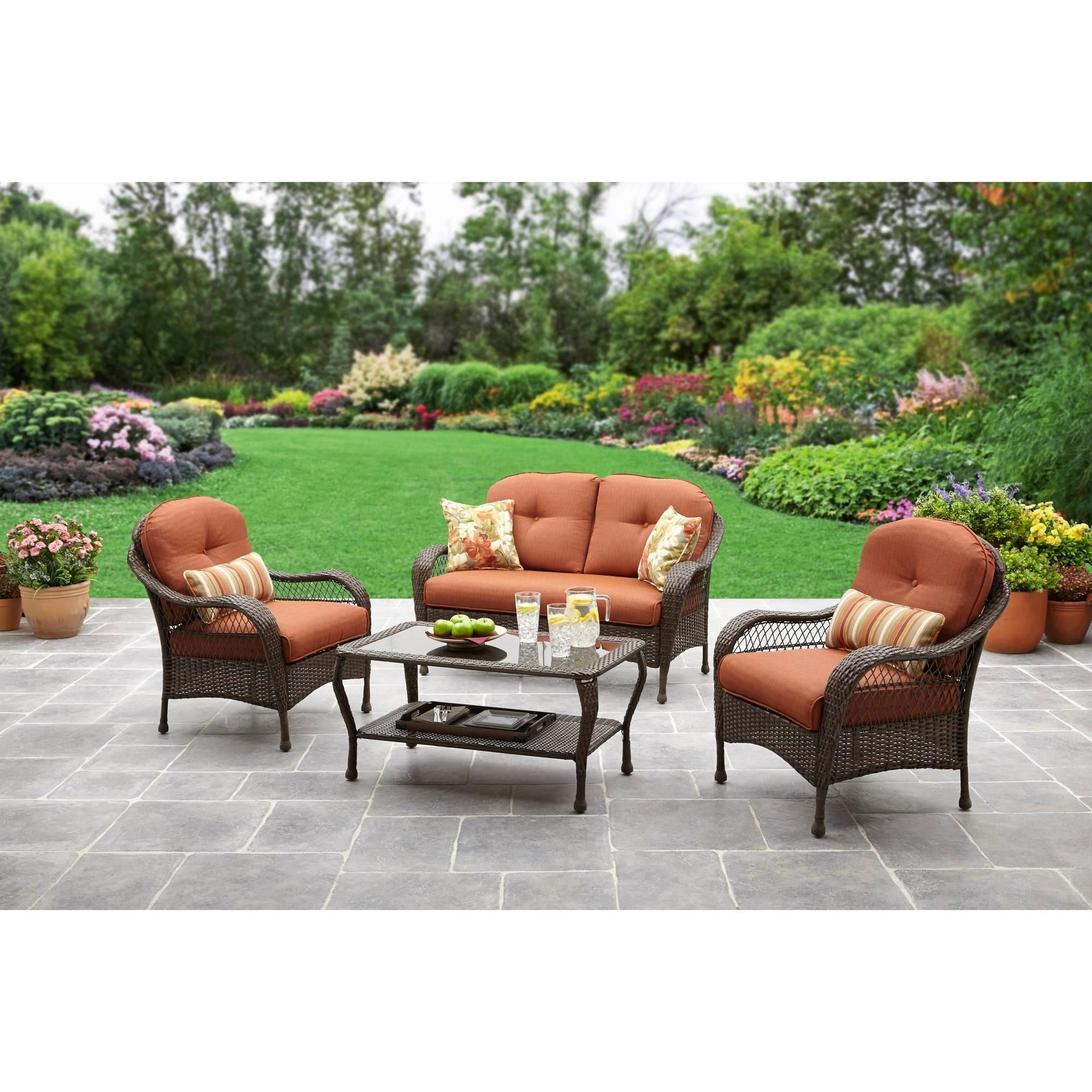 Walmart Patio Furniture Conversation Sets Inside Most Popular Replacement Cushions For Outdoor Furniture Walmart – Best Spray (View 14 of 20)
