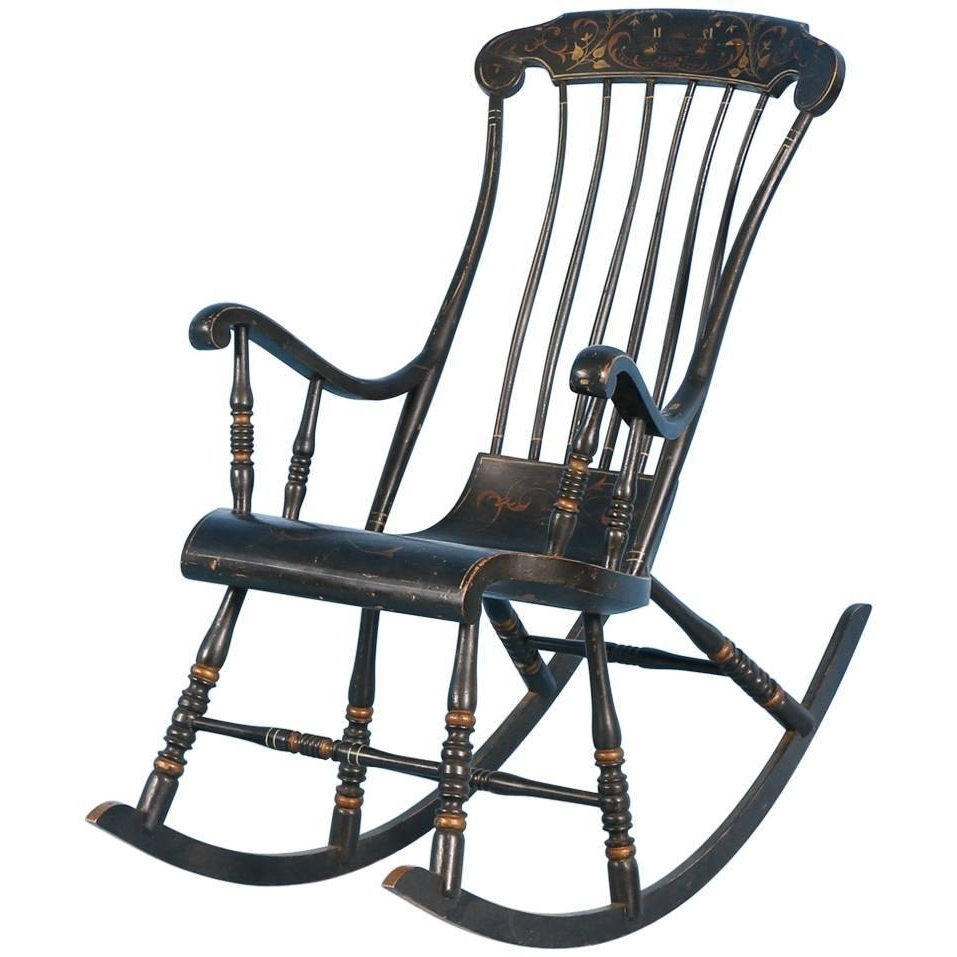 Well Known Antique Black Swedish Rocking Chair With Original Black Paint, Dated In Black Rocking Chairs (View 8 of 20)