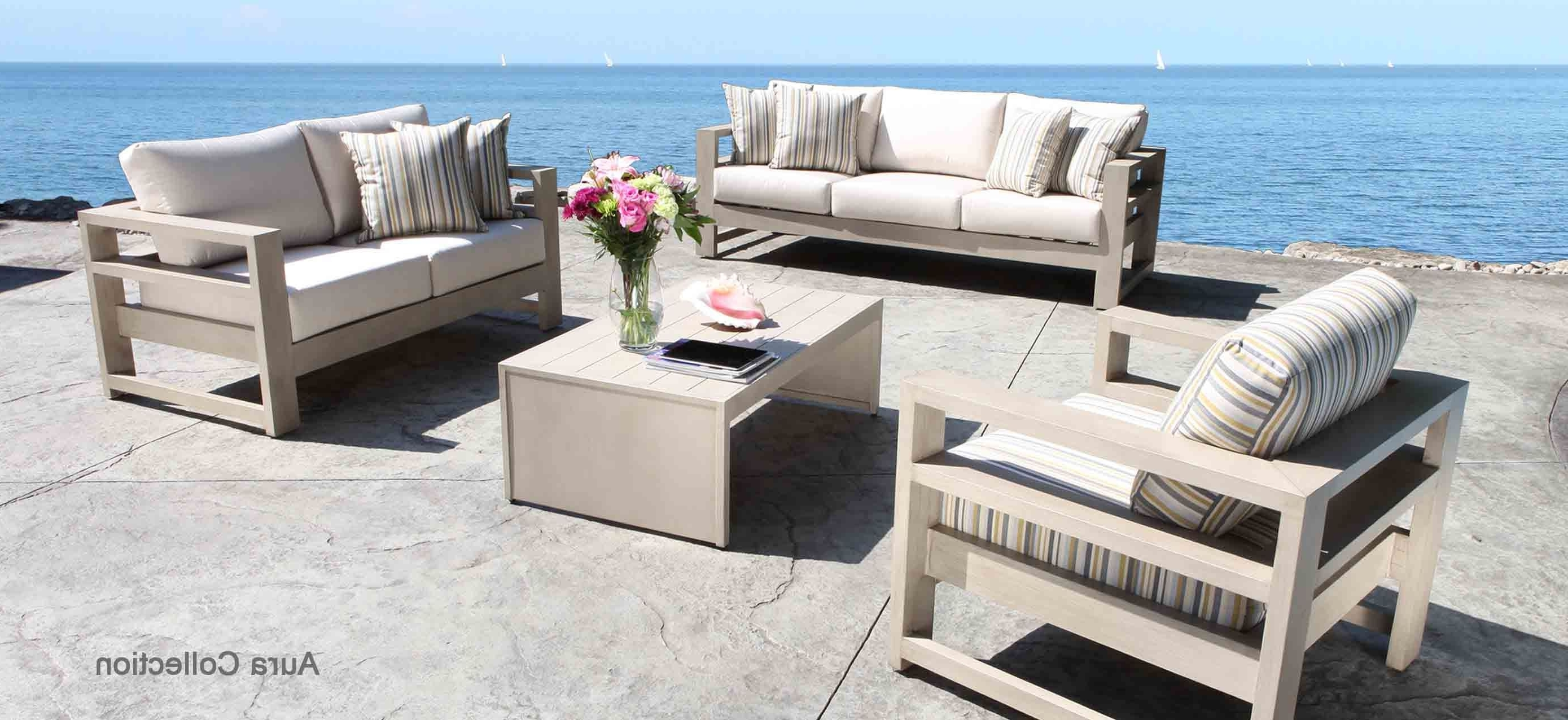 Well Known Aura Cast Aluminum Patio Furniture Conversation Set With A Modern With Regard To Aluminum Patio Conversation Sets (View 8 of 20)