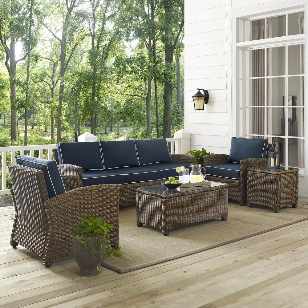 Well Known Bradenton 5 Piece Outdoor Wicker Sofa Conversation Set With Navy With Wicker 4pc Patio Conversation Sets With Navy Cushions (View 19 of 20)