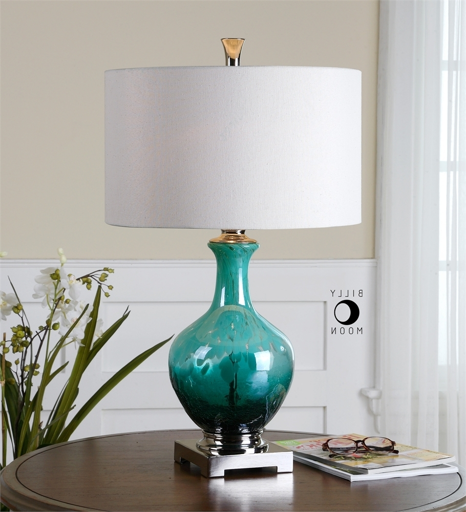 Well Known Breathtaking Colored Glass Table Lamp 18 Introducing Pier One Within Teal Living Room Table Lamps (View 19 of 20)