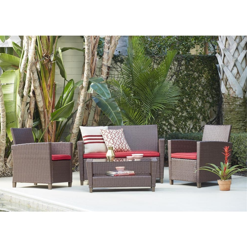 Well Known Cosco Malmo 4 Piece Dark Brown Resin Wicker Patio Conversation Set For Resin Wicker Patio Conversation Sets (View 20 of 20)