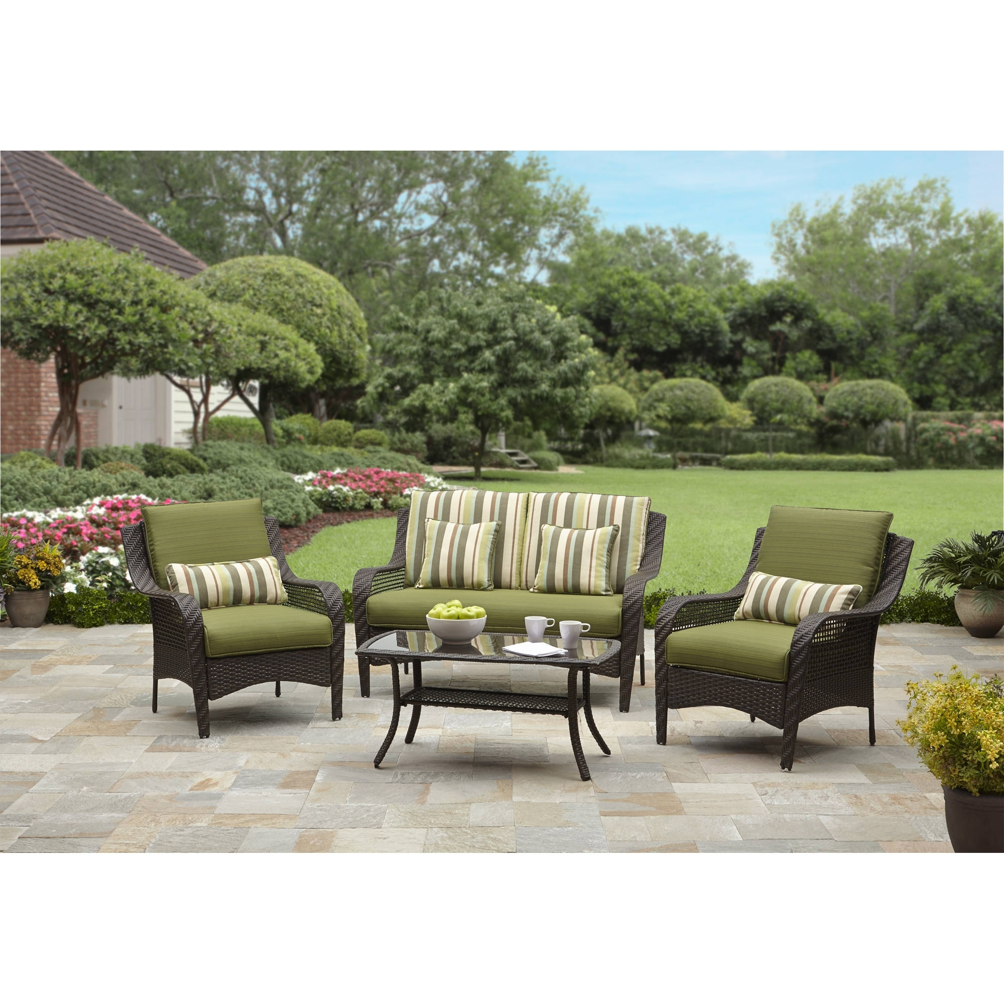 Well Known Dot Patio Conversation Sets Pertaining To Better Homes And Gardens Amelia Cove 4 Piece Woven Patio (View 19 of 20)
