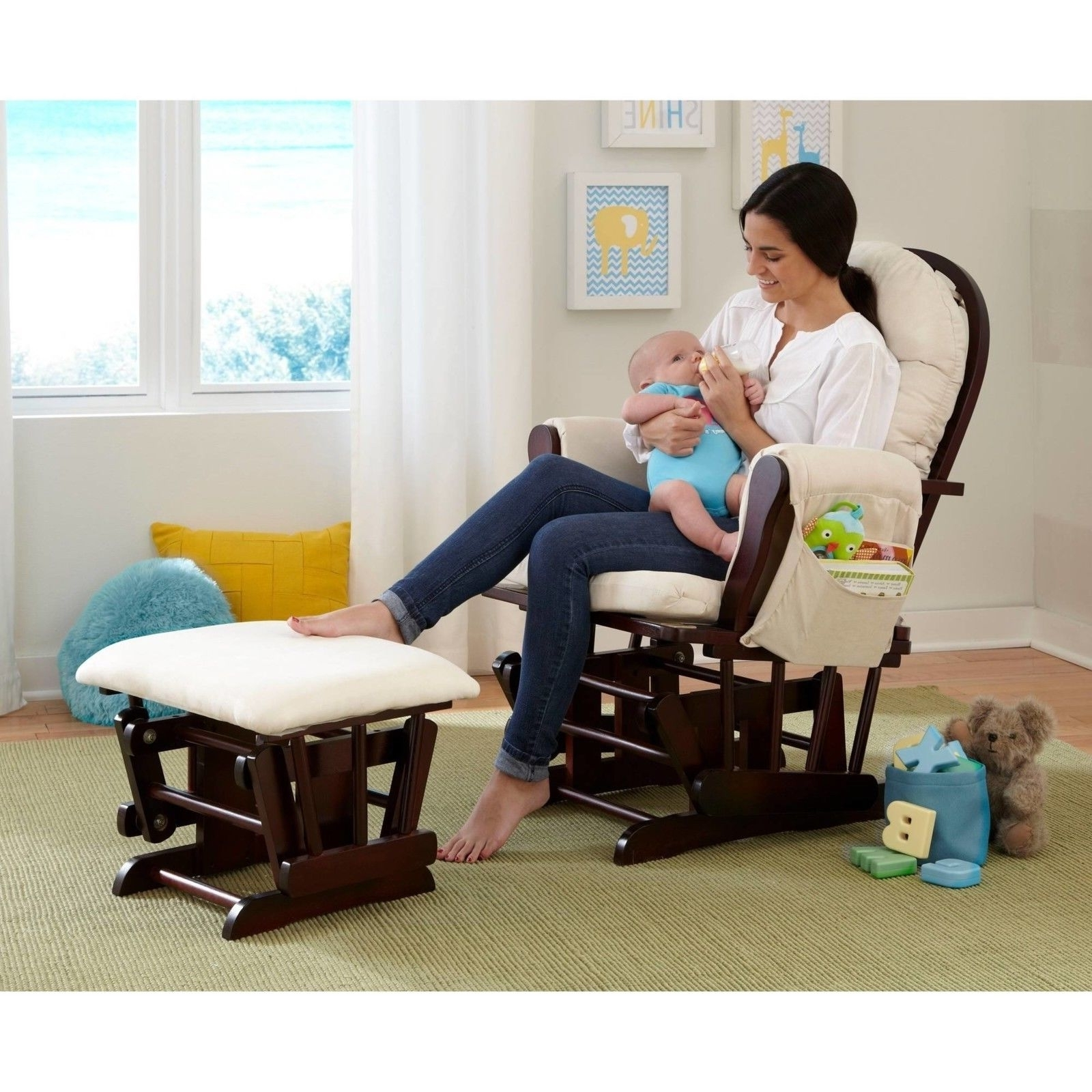 Well Known Glider Rocker Chair And Ottoman Baby Nursery Furniture Rocking Relax Regarding Rocking Chairs For Baby Room (View 14 of 20)