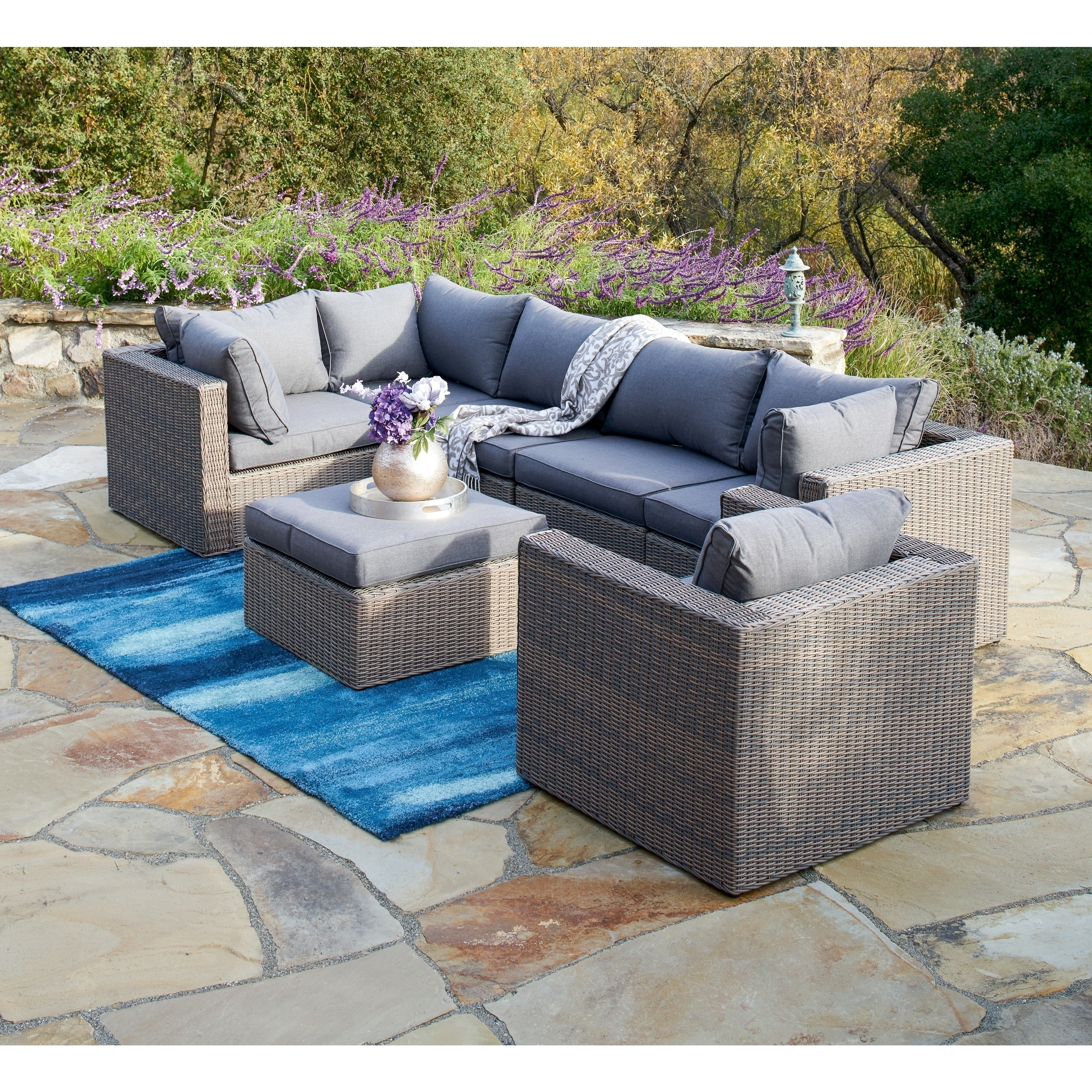 Well Known Grey Patio Conversation Sets With Shop Corvus Sevilla 7 Piece Outdoor Wicker Furniture Set With (View 15 of 20)
