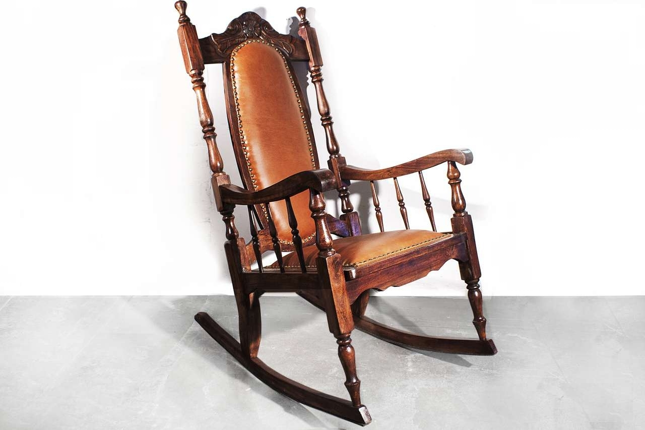Well Known Leather Rocking Chair Awesome Sold Victorian Era Oak Rocking Chair Regarding Victorian Rocking Chairs (View 12 of 20)