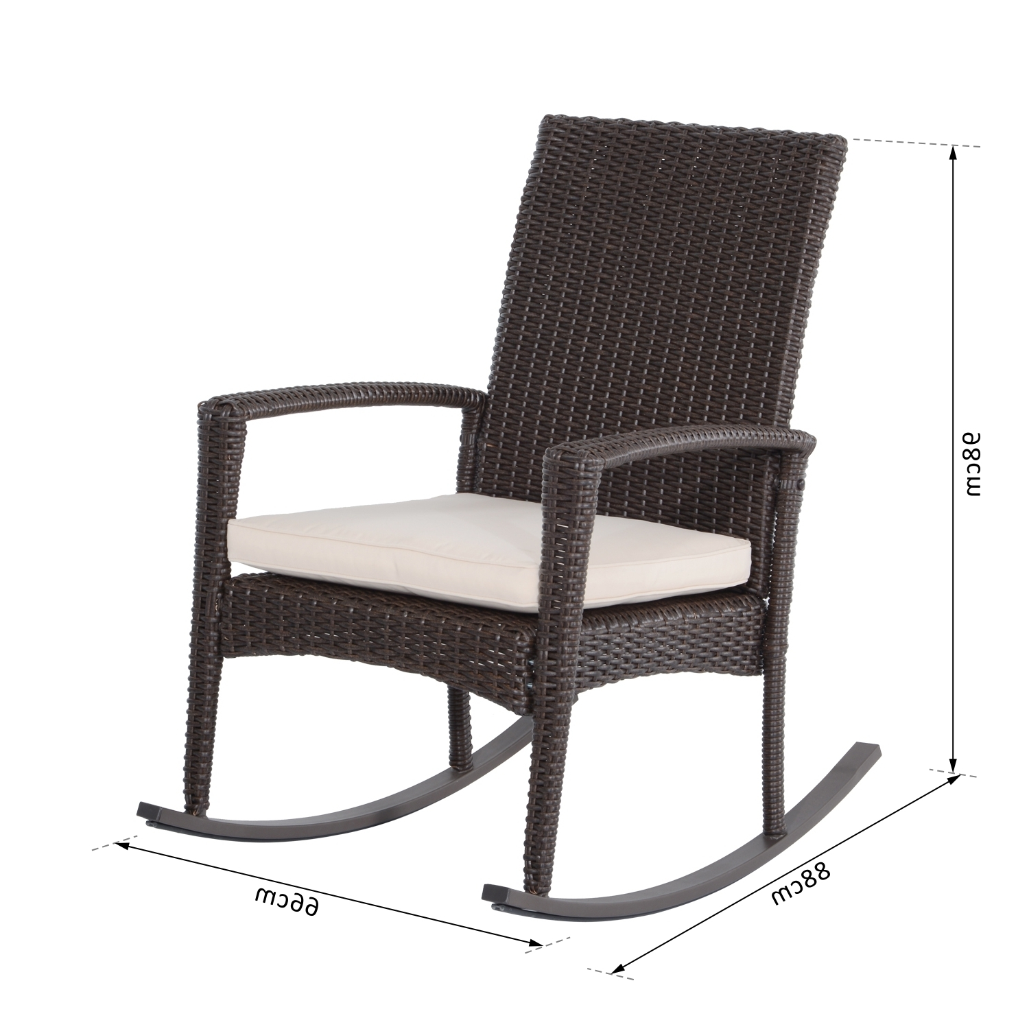 Well Known Outsunny Patio Rattan Rocking Chair Bistro Seat Wicker Outdoor For Wicker Rocking Chair With Magazine Holder (View 15 of 20)