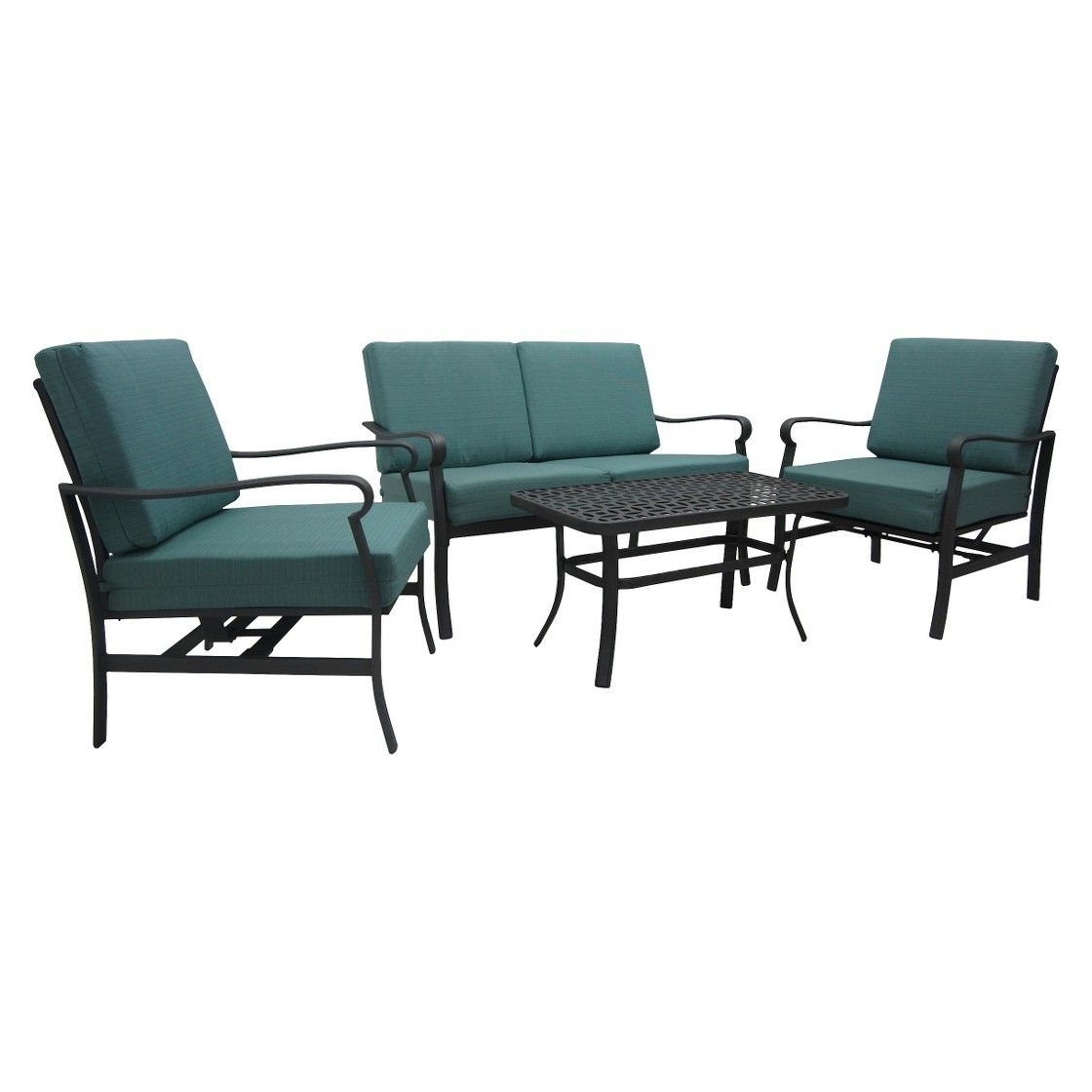 Well Known Patio Conversation Sets At Target Regarding Threshold  Hawthorne 4 Piece Metal Patio Conversation Furniture Set (View 18 of 20)