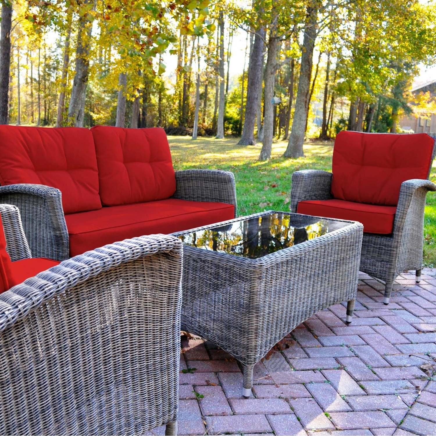 Well Known Patio Conversation Sets With Cushions For Kettler Lakena 4 Piece Wicker Patio Conversation Set With Jockey Red Cushions (View 15 of 20)