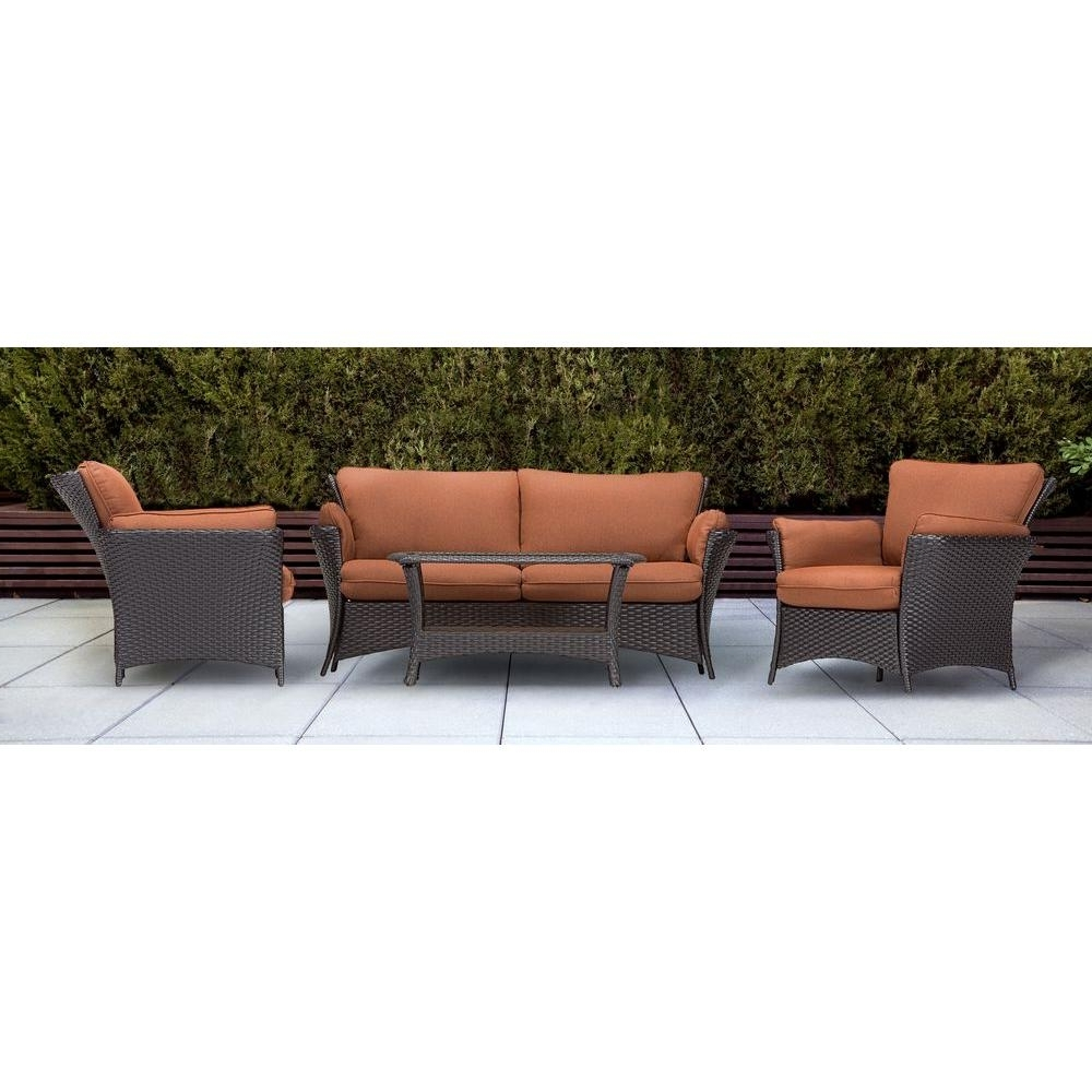 Well Known Patio Conversation Sets With Cushions Intended For Hanover Strathmere Allure 4 Piece Patio Conversation Set With Woodland Rust  Cushions (View 18 of 20)