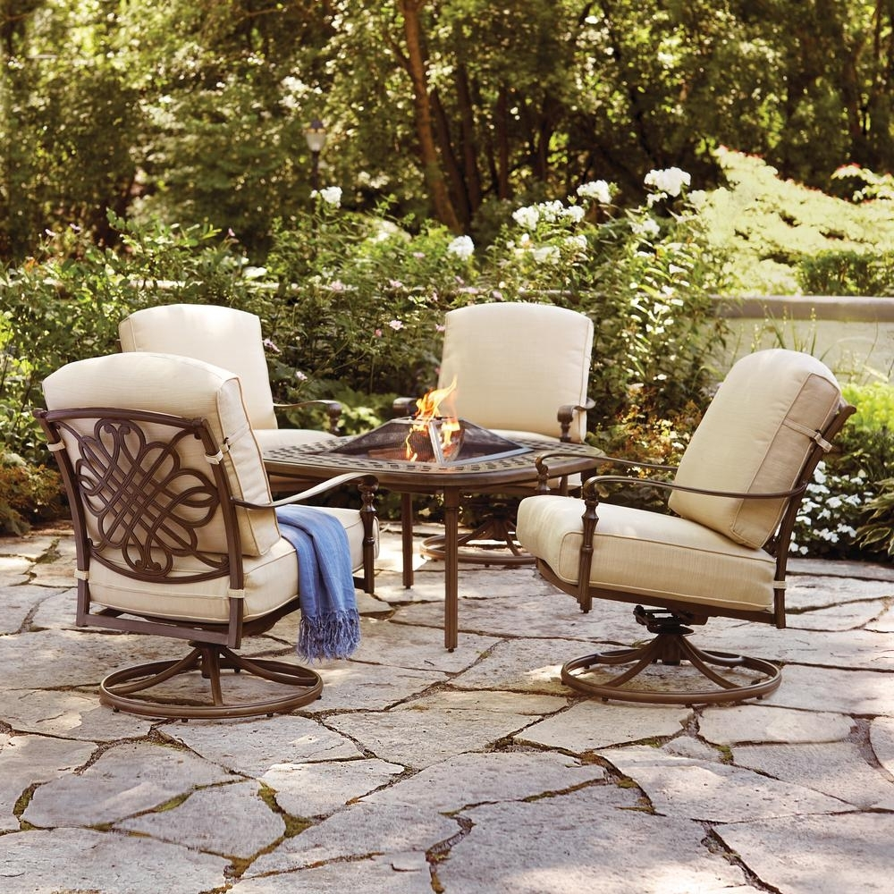 Well Known Patio Conversation Sets With Fire Table With Regard To Hampton Bay Cavasso 5 Piece Aluminum Outdoor Patio Fire Pit (View 9 of 20)