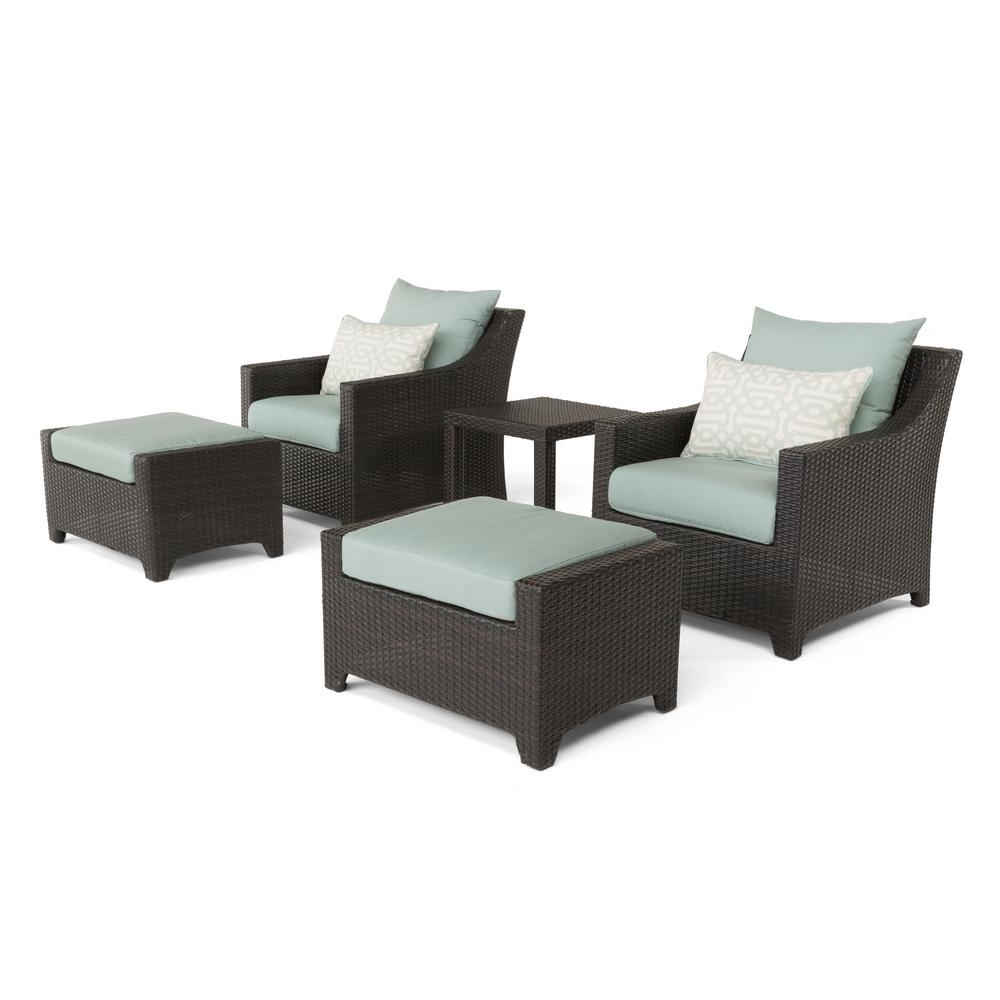 Well Known Patio Conversation Sets With Ottoman Within Rst Brands Deco 5 Piece All Weather Wicker Patio Club Chair And (View 20 of 20)