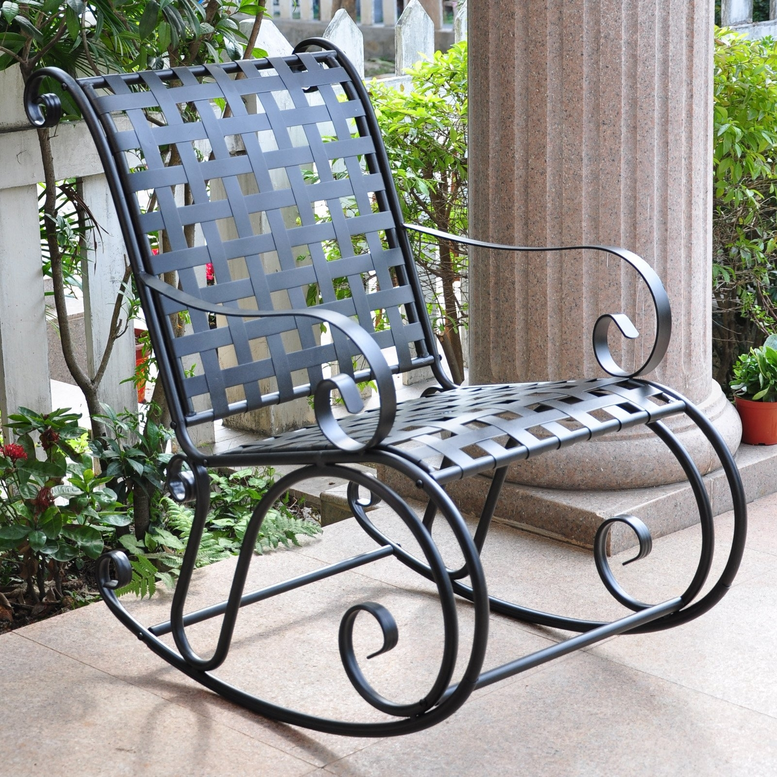 Well Known Patio Metal Rocking Chairs With Regard To International Caravan Scroll Iron Metal Outdoor Rocker (View 9 of 20)