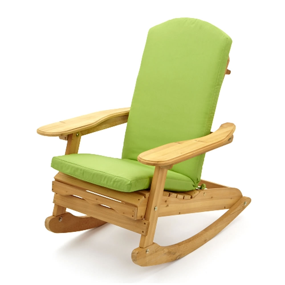 Well Known Patio Rocking Chairs With Garden Patio Rocking Chair With Lime Green Luxury Cushion (View 15 of 20)