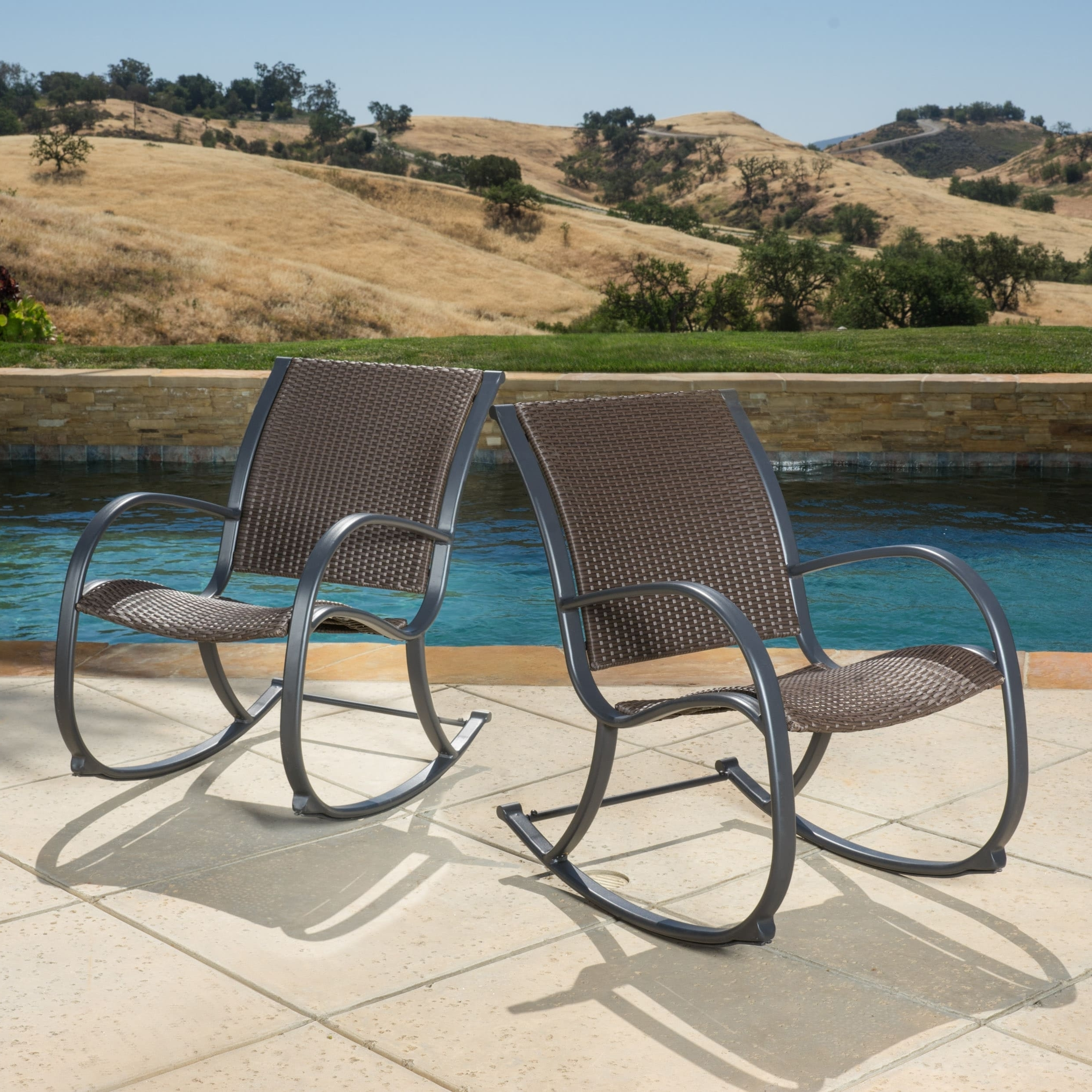 Well Known Shop Gracie's Outdoor Wicker Rocking Chair (Set Of 2)Christopher Throughout Wicker Rocking Chairs For Outdoors (View 13 of 20)
