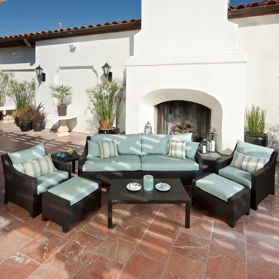 Well Known Shop Rst Brands Deco 8 Piece Wicker Frame Patio Conversation Set In Patio Conversation Sets With Ottomans (View 18 of 20)