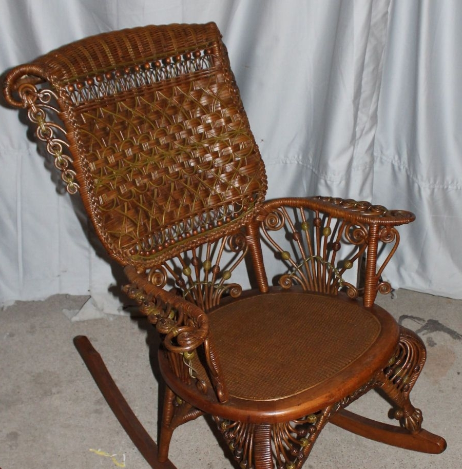 Well Known Vintage Wicker Rocking Chairs In Fancy Victorian Wicker Rocker – Heywood Wakefield (View 19 of 20)