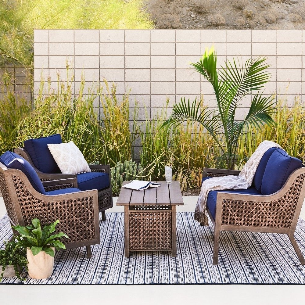 Well Known Wicker 4pc Patio Conversation Sets With Navy Cushions Intended For Fabron 4 Pc (View 17 of 20)