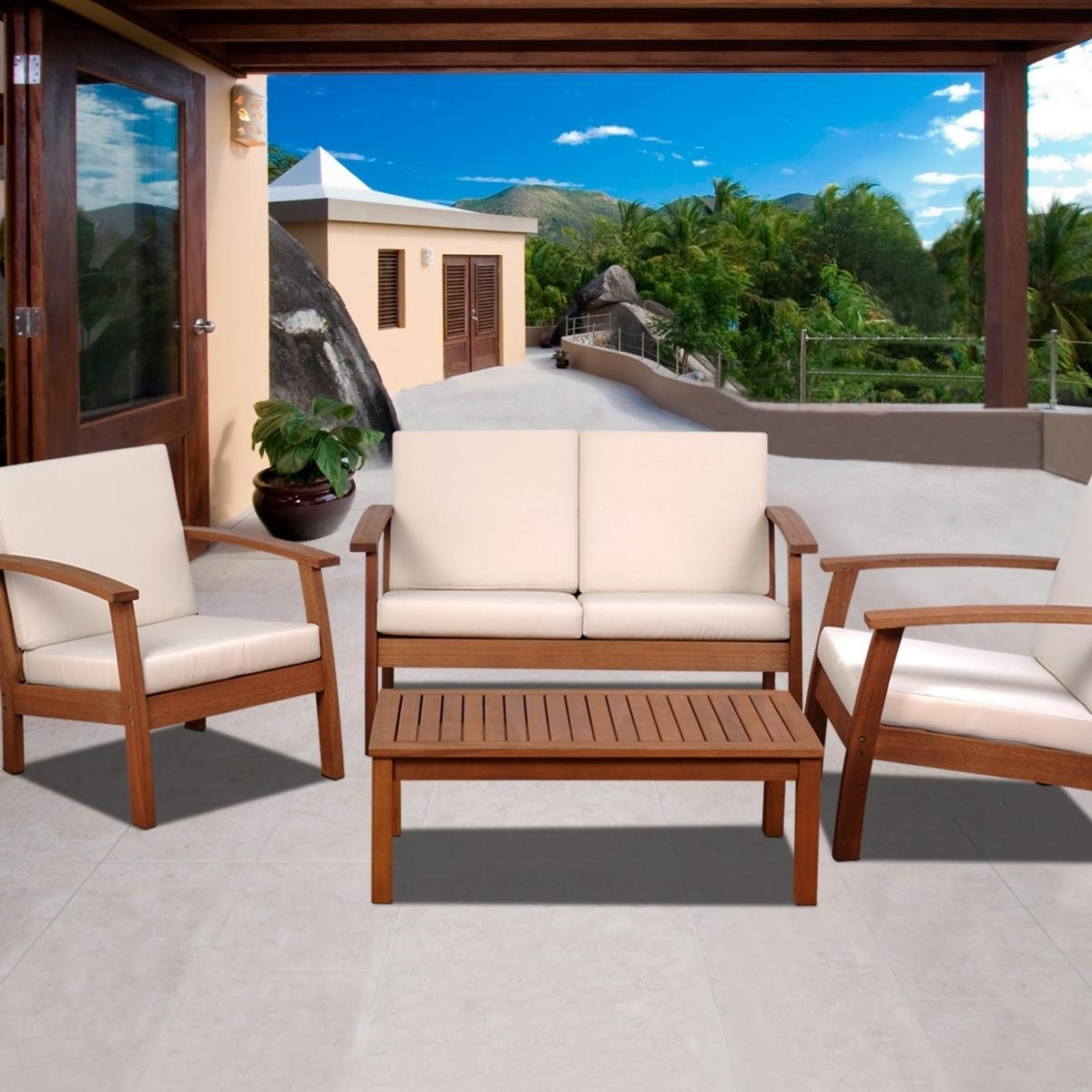Well Known Wood Patio Furniture Conversation Sets In Amazonia Murano 4 Person Eucalyptus Patio Conversation Set (View 12 of 20)