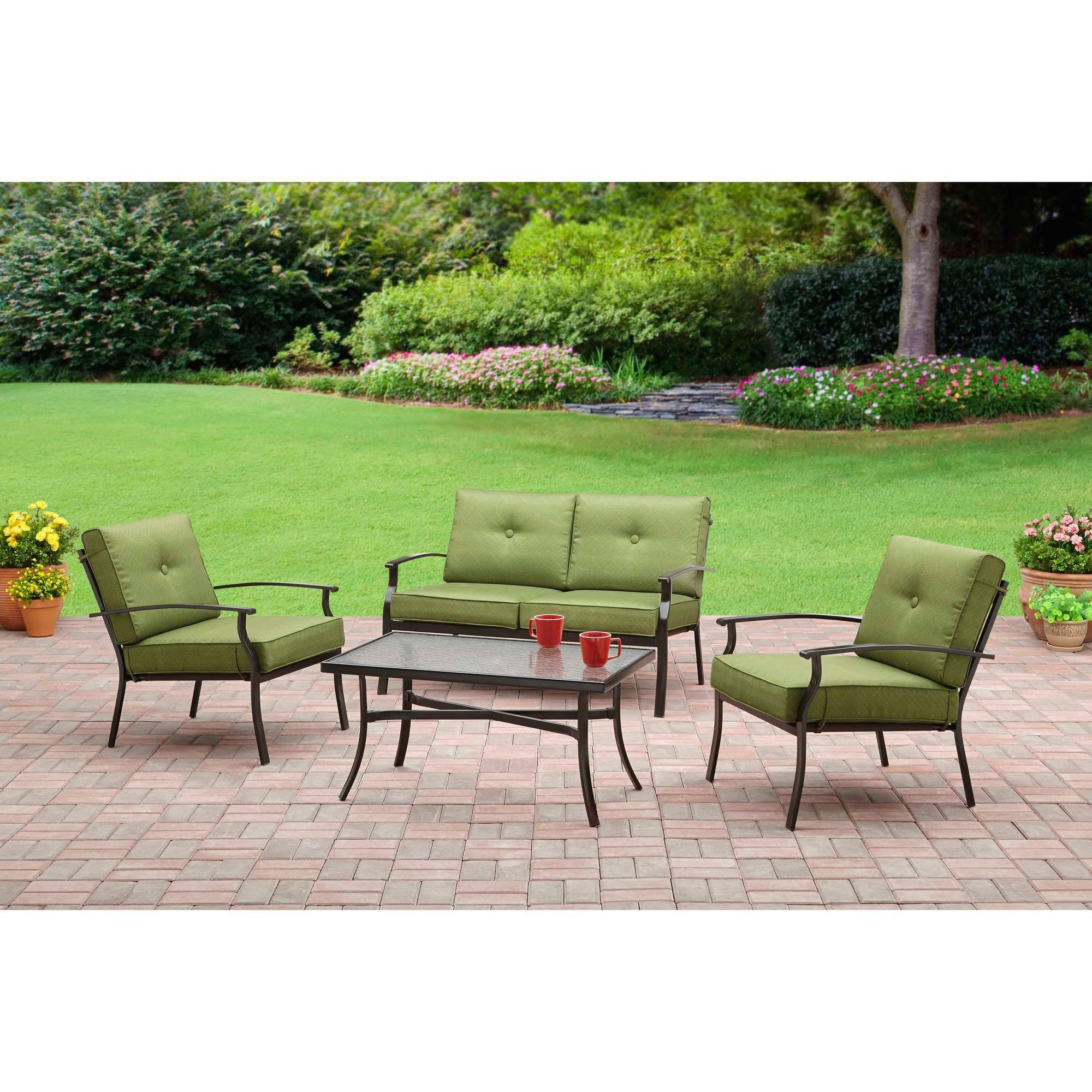 Well Liked 4 Piece Patio Conversation Sets Pertaining To Mainstays Bryant Place 4 Piece Conversation Set, Green – Walmart (View 8 of 20)