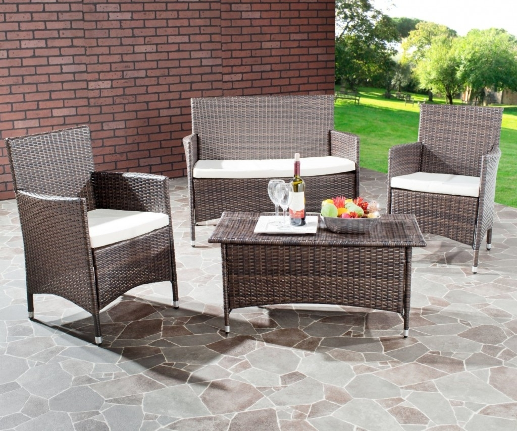 Well Liked 4 Piece Patio Conversation Sets With Furniture: Best Outdoor Wicker Furniture On Stone Flooring For Patio (View 19 of 20)