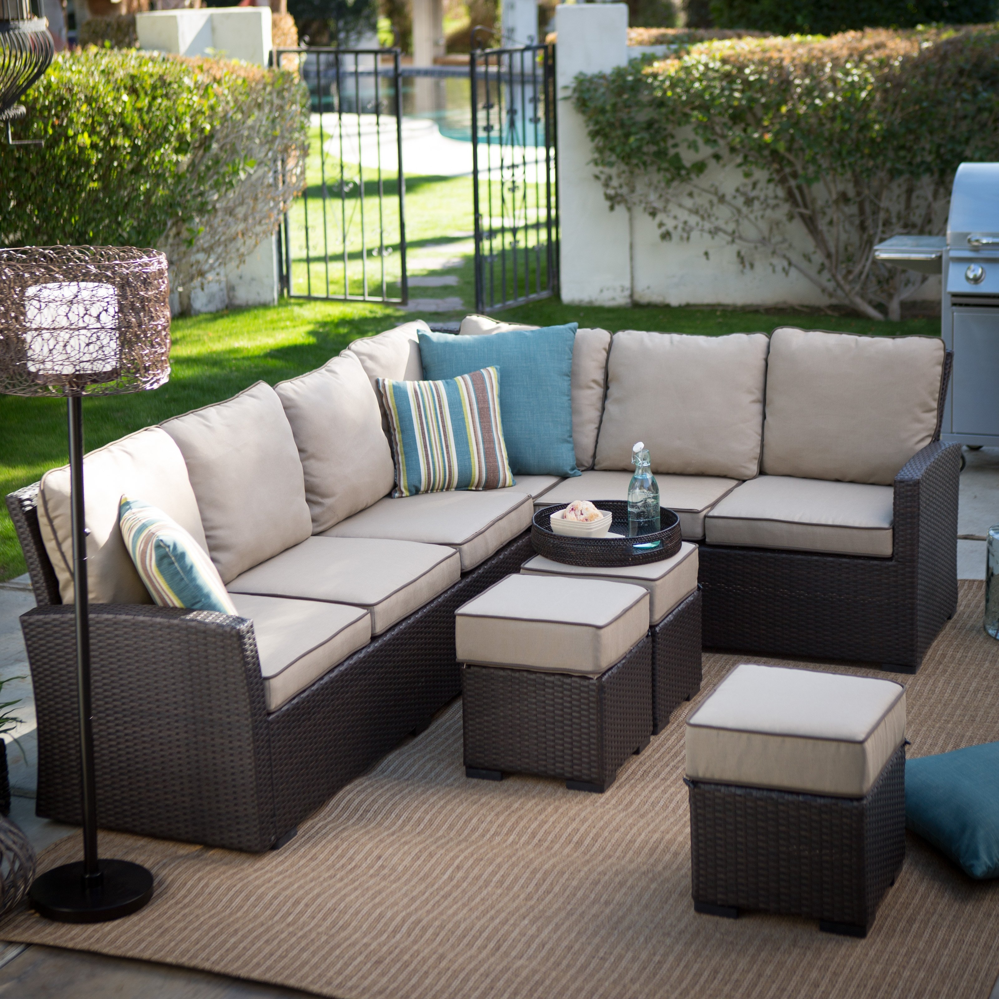 Well Liked Belham Living Monticello All Weather Outdoor Wicker Sofa Sectional In Patio Sectional Conversation Sets (View 11 of 20)