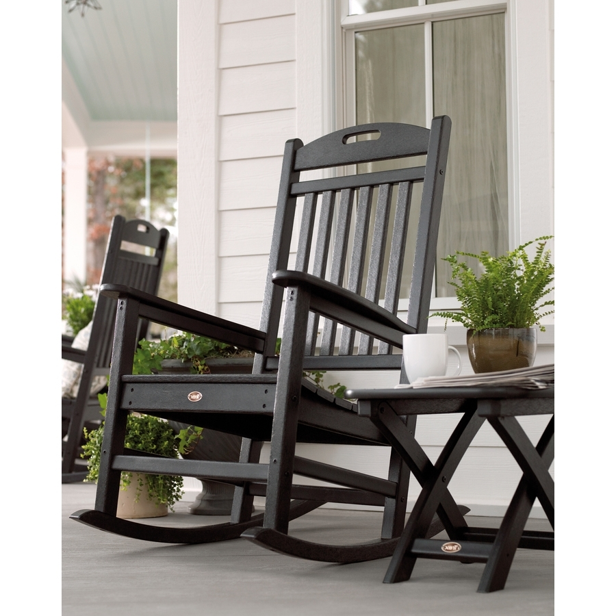 Well Liked Black Rocking Chairs With Regard To Shop Trex Outdoor Furniture Yacht Club Plastic Rocking Chair With (View 10 of 20)