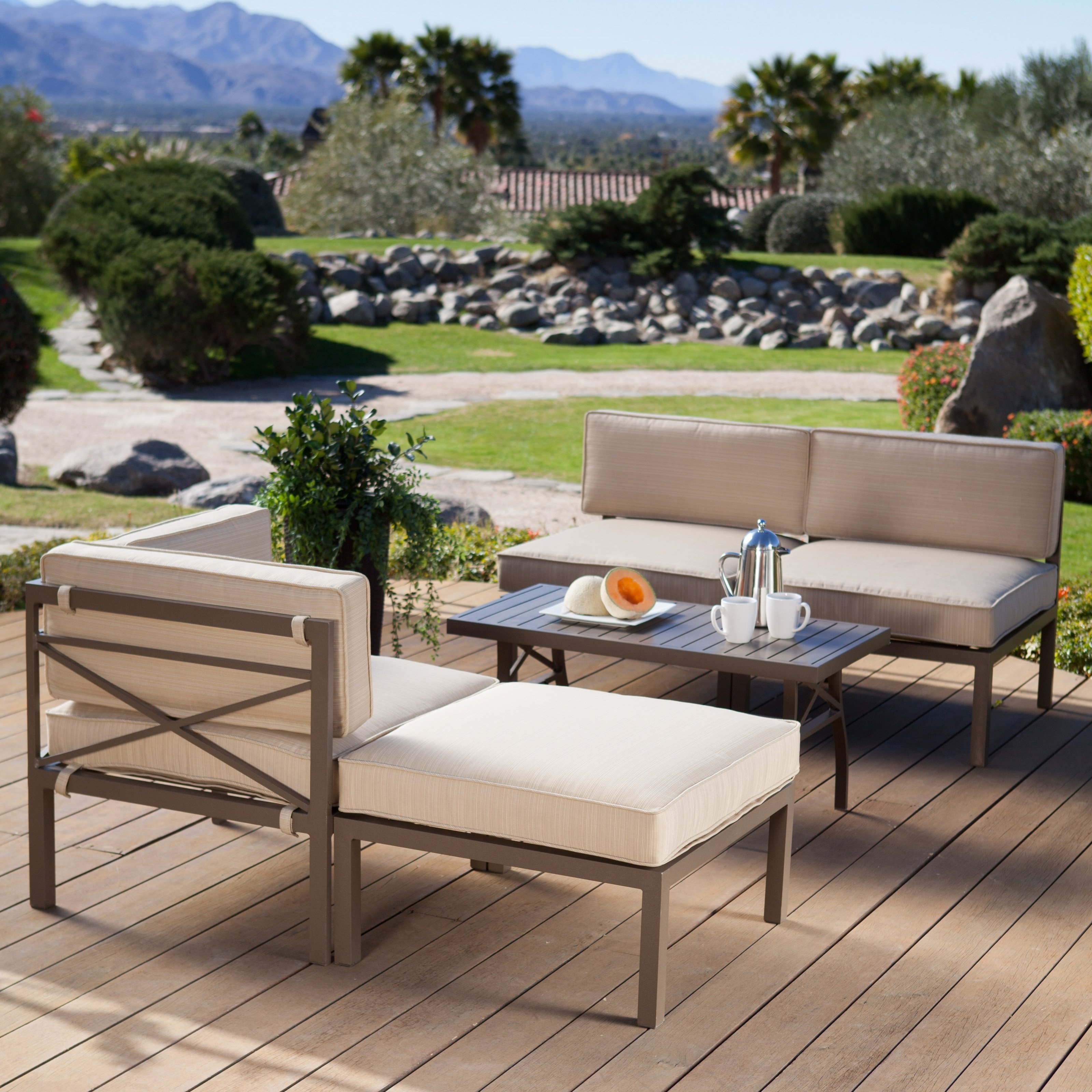 Well Liked Conversation Patio Sets With Outdoor Sectionals For Coral Coast Bellagio 5 Piece Aluminum Sectional Sofa Set – Walmart (View 20 of 20)