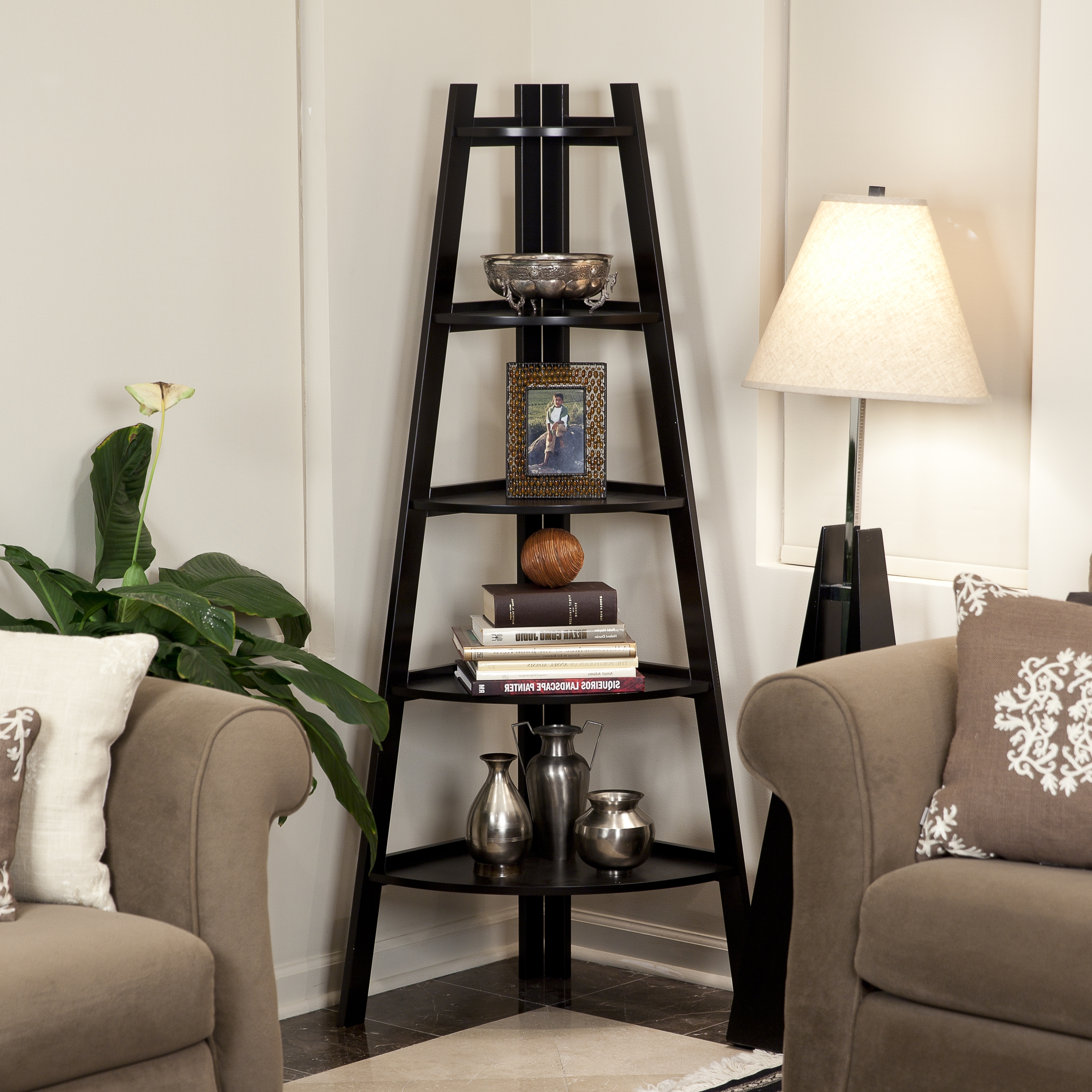 Well Liked Glamorous Corner Ladder Shelf 28 Inspiration Storage Wonderful With Brown Living Room Table Lamps (View 18 of 20)