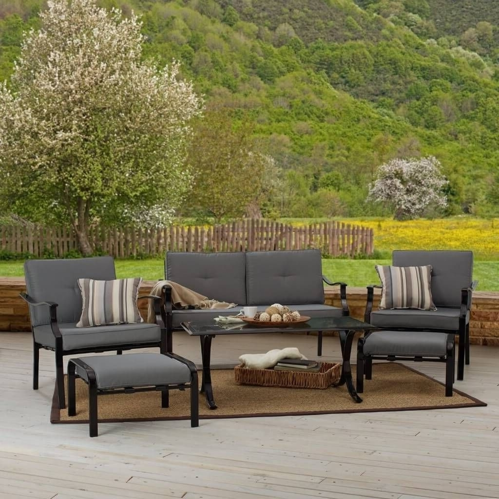 Well Liked Gray Patio Conversation Sets Intended For Outdoor & Garden: Strathwood All Weather Patio Furniture Set With (View 10 of 20)