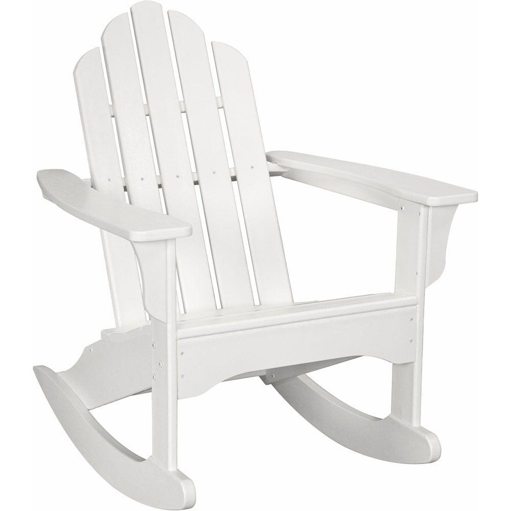 Well Liked Hanover White All Weather Adirondack Rocking Patio Chair Hvlnr10Wh Within Rocking Chairs At Home Depot (View 18 of 20)