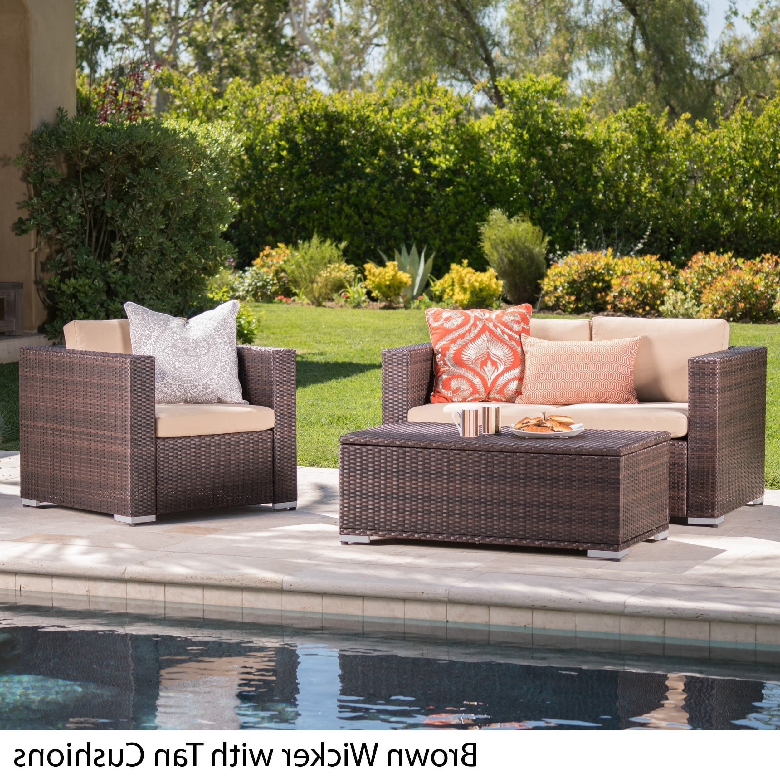 Well Liked Murano Outdoor 3 Piece Wicker Chat Set With Cushions And Storage With Patio Conversation Set With Storage (View 17 of 20)