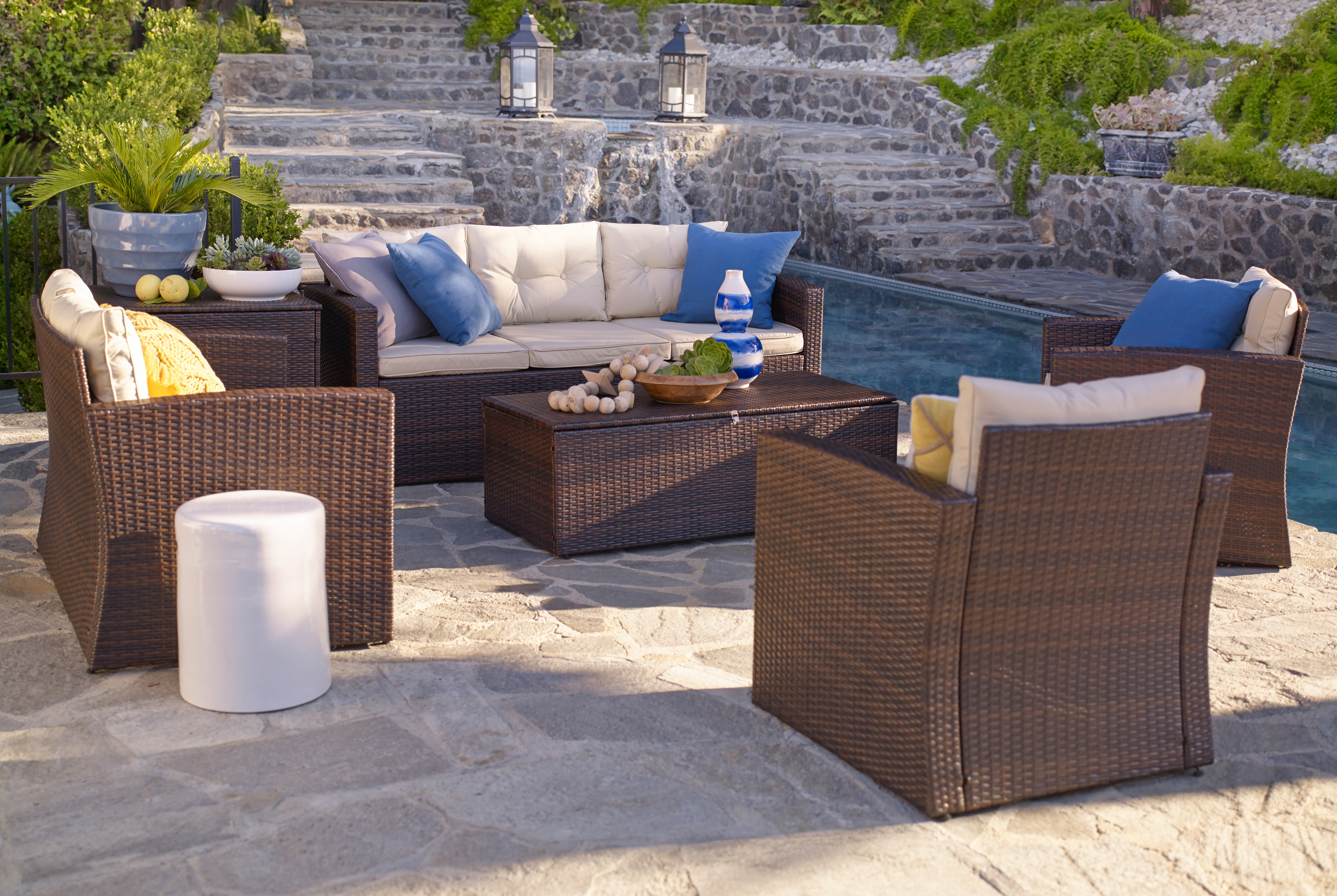 Well Liked Patio Conversation Set With Storage With Regard To Rio 6 Piece All Weather Wicker Conversation Set With Storage (View 18 of 20)