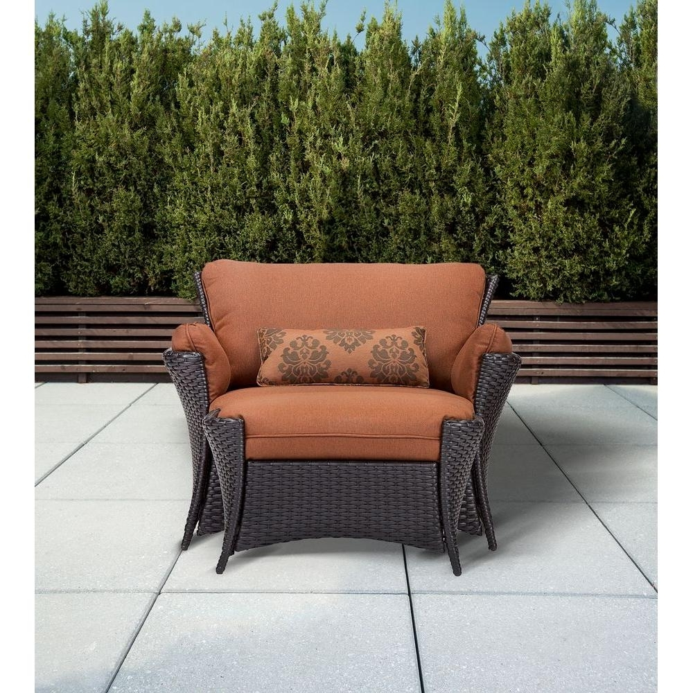 Well Liked Patio Conversation Sets With Ottomans Regarding Hanover Strathmere Allure 2 Piece Patio Set With Oversized Armchair (View 3 of 20)