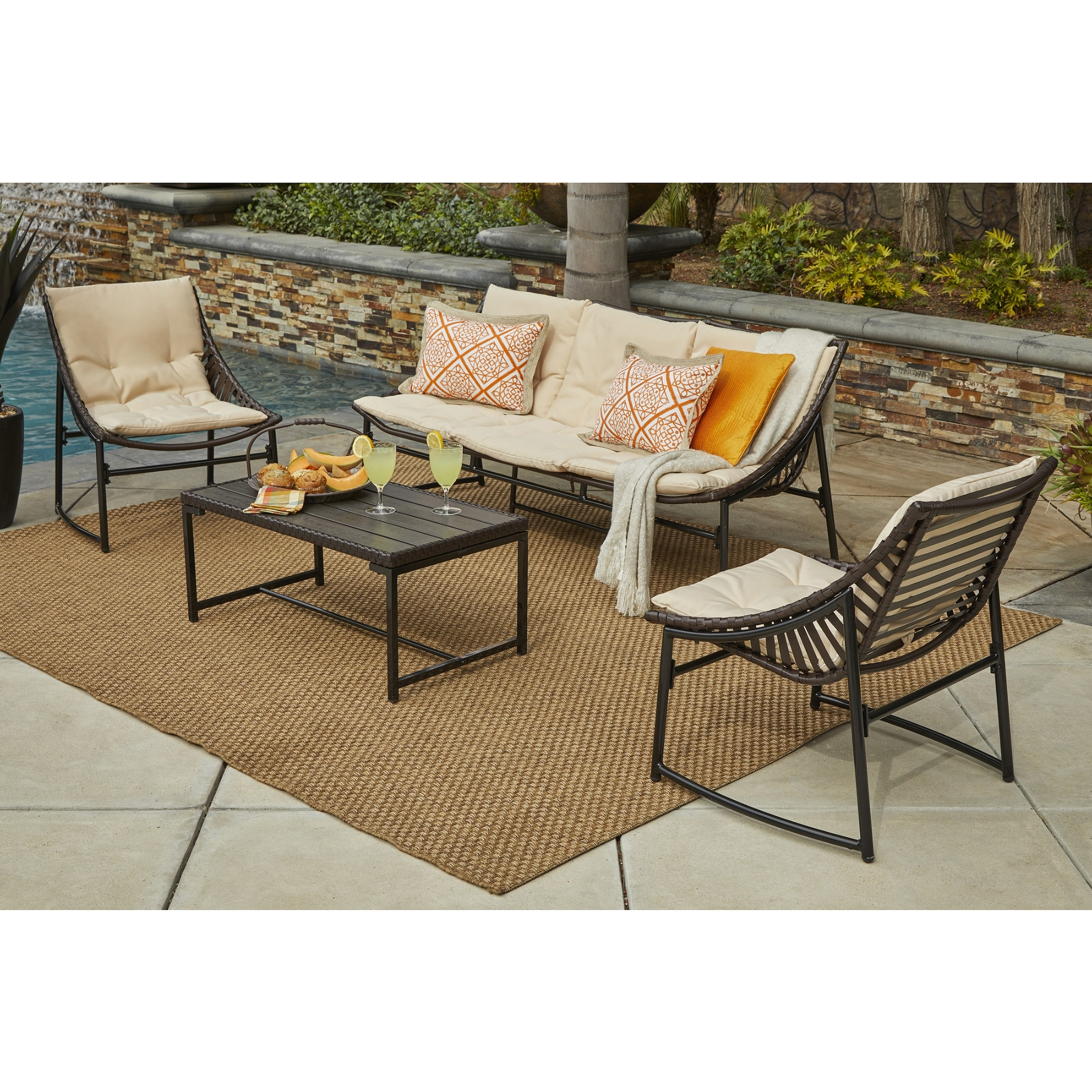 Well Liked Sling Patio Conversation Sets With Shop Handy Living Nico 4 Piece Indoor/outdoor Sling Conversation Set (View 14 of 20)