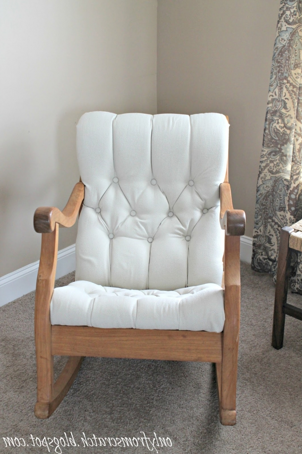 Well Liked Table & Chair: Only From Scratch: Tufted Rocking Chair Re Do In Upholstered Rocking Chairs (View 14 of 20)