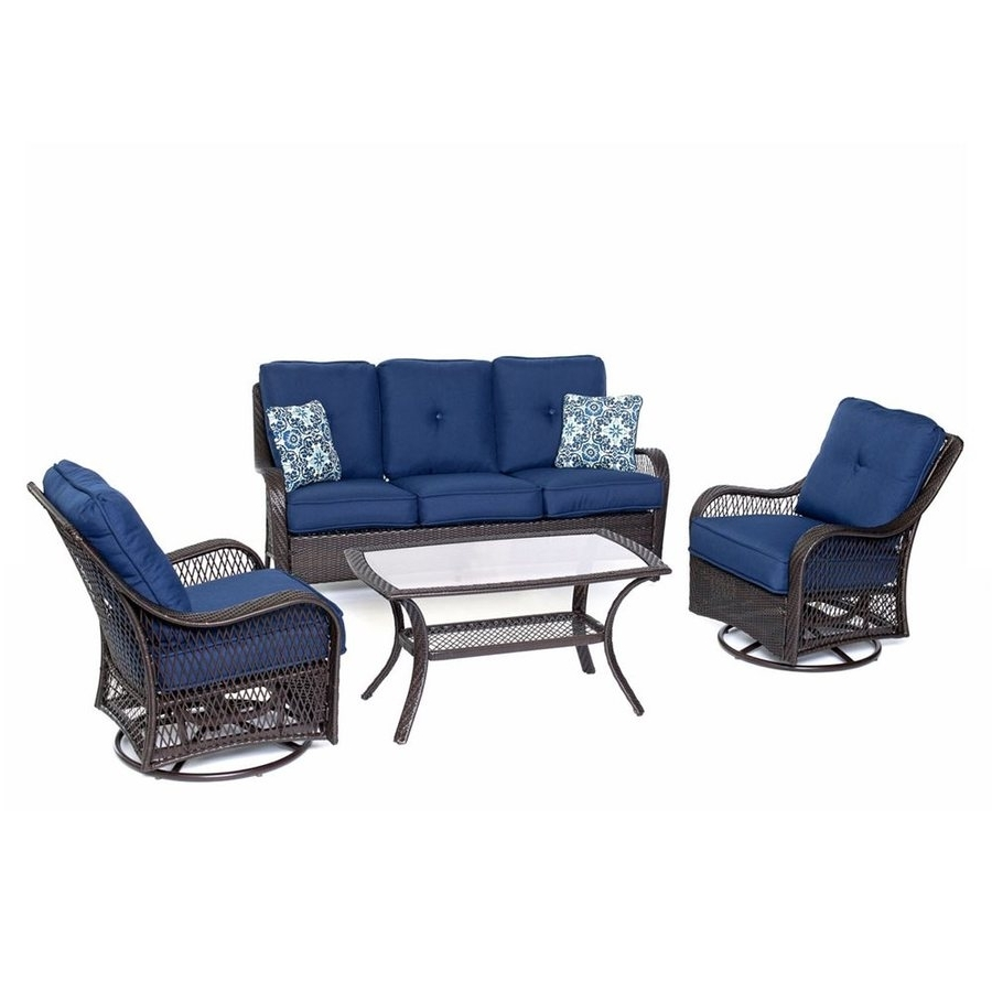 Well Liked Wicker 4Pc Patio Conversation Sets With Navy Cushions Throughout Shop Hanover Outdoor Furniture Orleans 4 Piece Wicker Frame Patio (View 15 of 20)