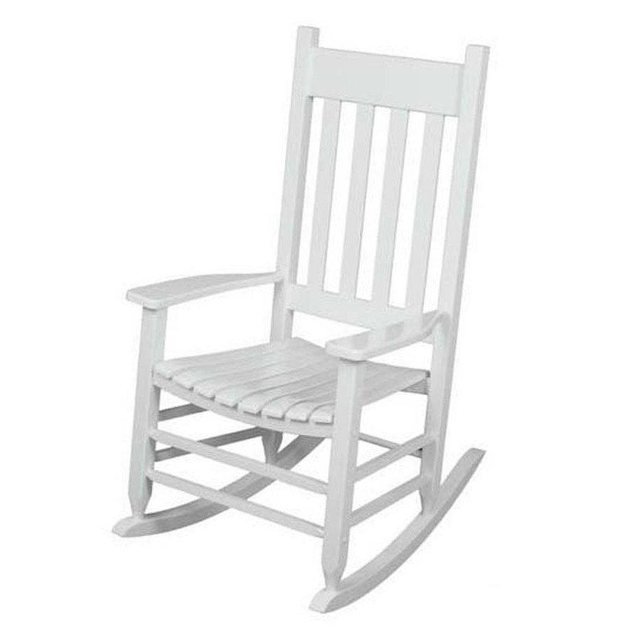 White Patio Rocking Chairs For Most Up To Date Shop Garden Treasures Acacia Rocking Chair With Slat Seat At Lowes (View 16 of 20)