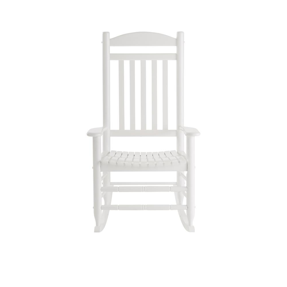 White Patio Rocking Chairs Inside Favorite Hampton Bay Glossy White Wood Outdoor Rocking Chair It 130828W – The (View 17 of 20)