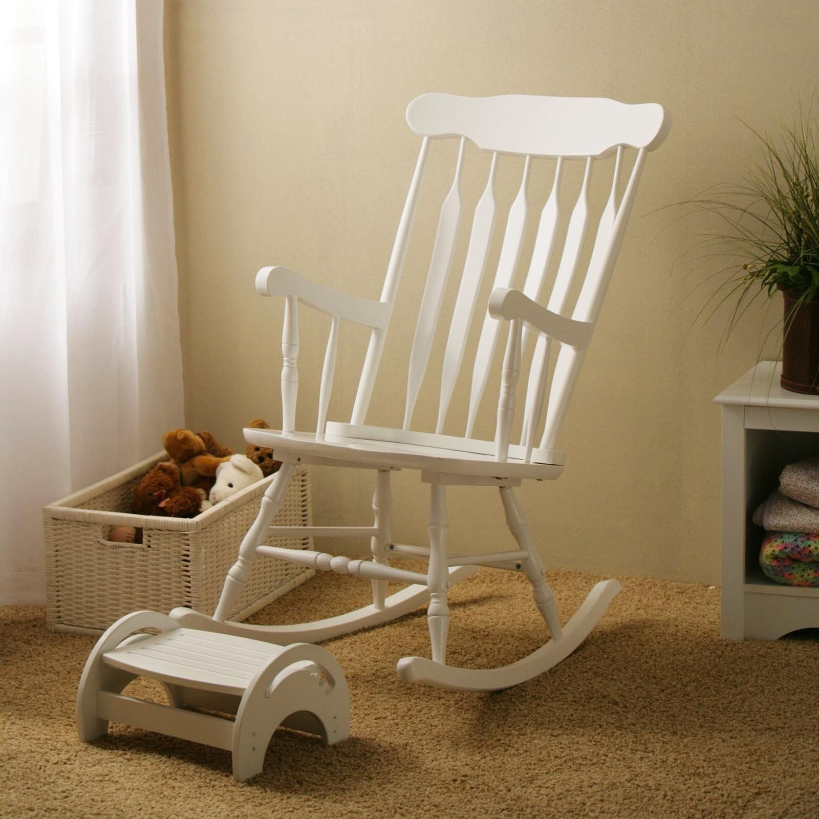 White Wicker Rocking Chair For Nursery For Most Current Rocking A Newborn Baby To Sleep In A Comfy Nursery Chair Is A Great (View 2 of 20)