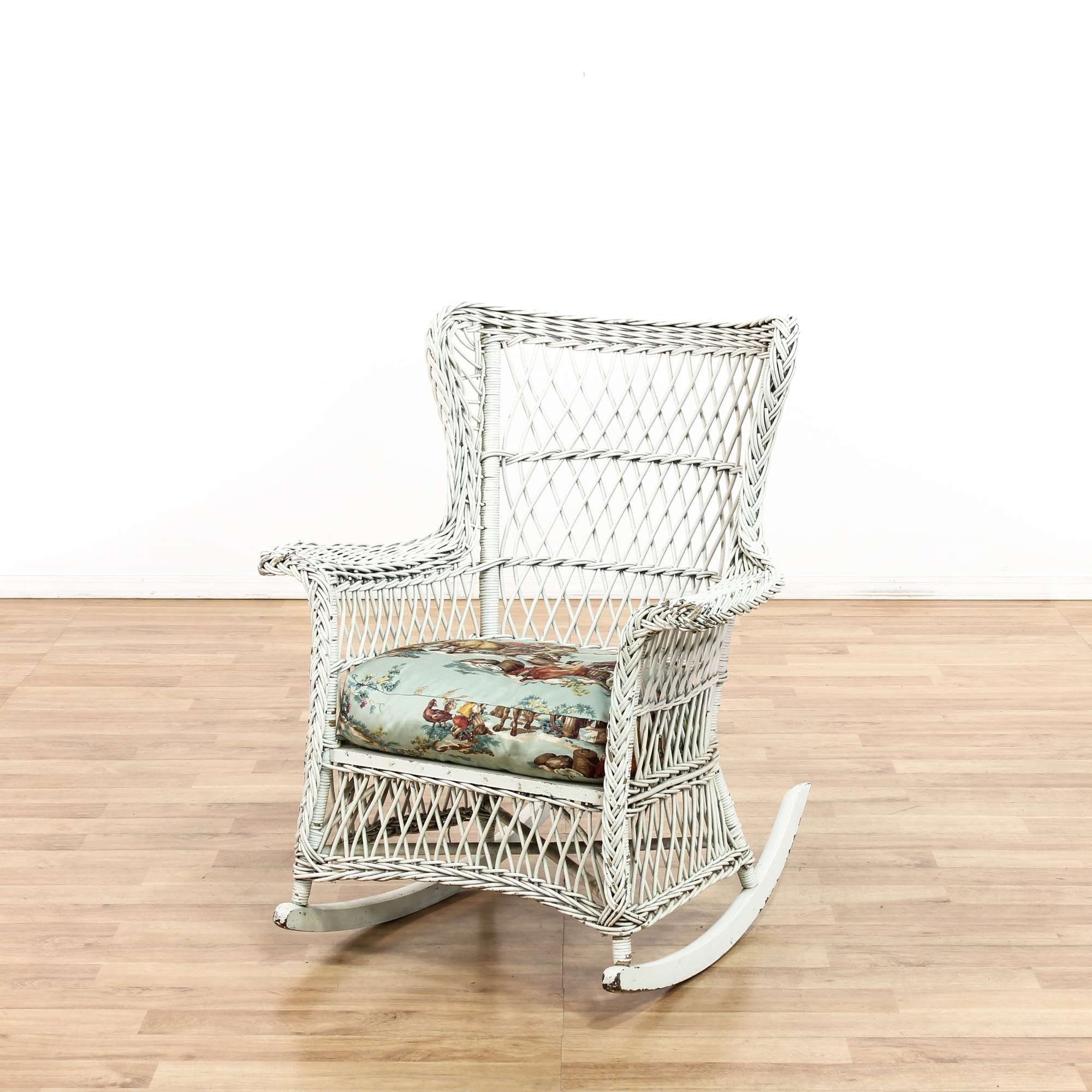 White Wicker Rocking Chair Loveseat Vintage Furniture Los Angeles Inside Preferred White Wicker Rocking Chair For Nursery (View 17 of 20)