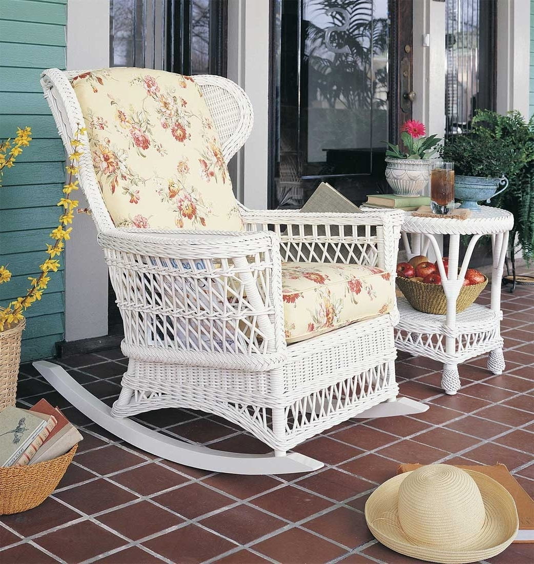 White Wicker Rocking Chairs Porch Martha Stewart Chair Indoor For Inside Most Recently Released White Wicker Rocking Chair For Nursery (View 5 of 20)