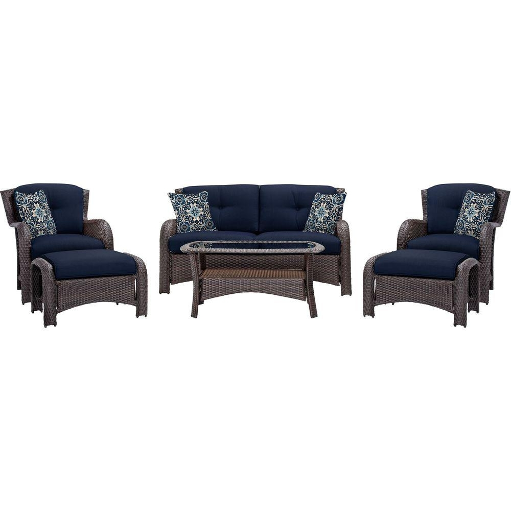Wicker 4pc Patio Conversation Sets With Navy Cushions Inside Recent Hanover Strathmere 6 Piece All Weather Wicker Patio Deep Seating Set (View 15 of 20)