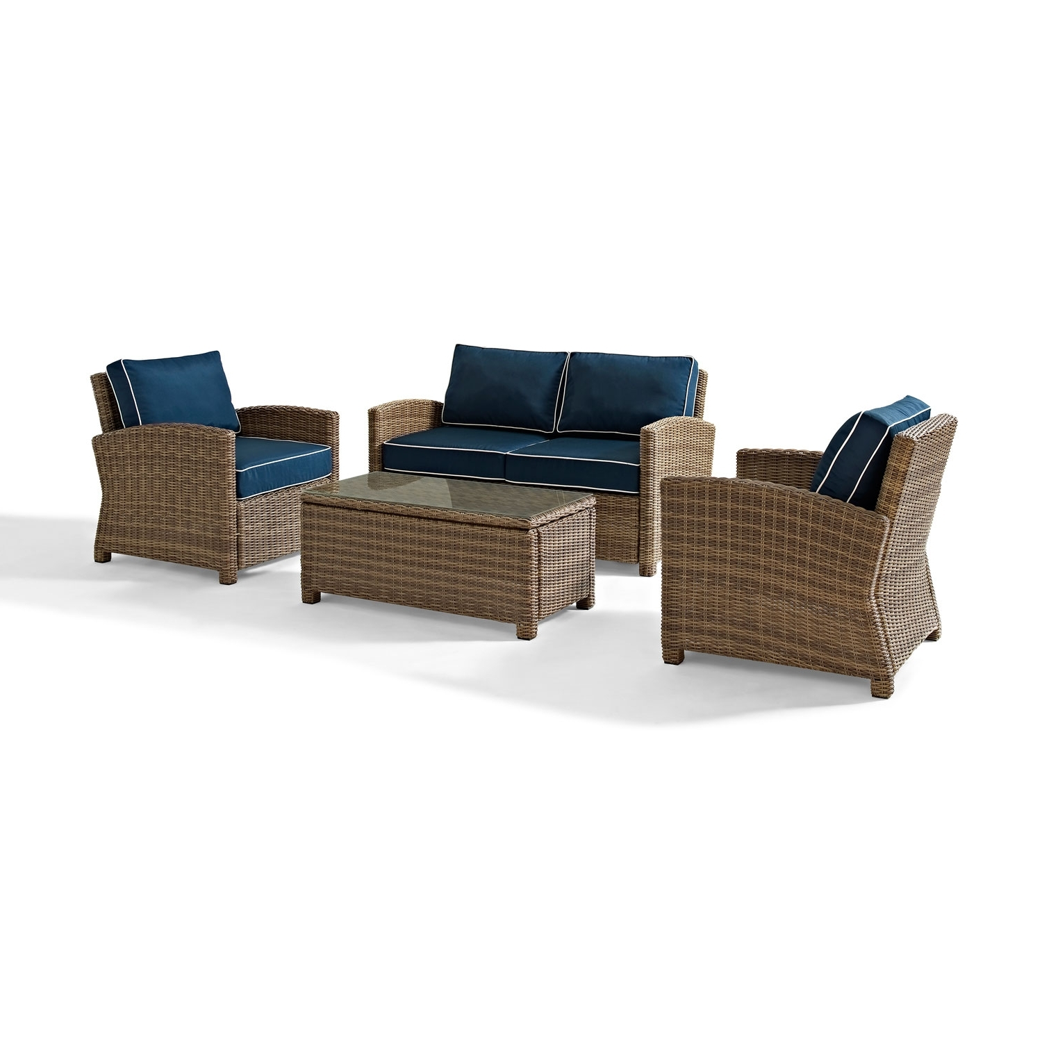 Wicker 4pc Patio Conversation Sets With Navy Cushions Throughout Current Crosley Furniture Bradenton 4 Piece Outdoor Wicker Seating Set With (View 13 of 20)